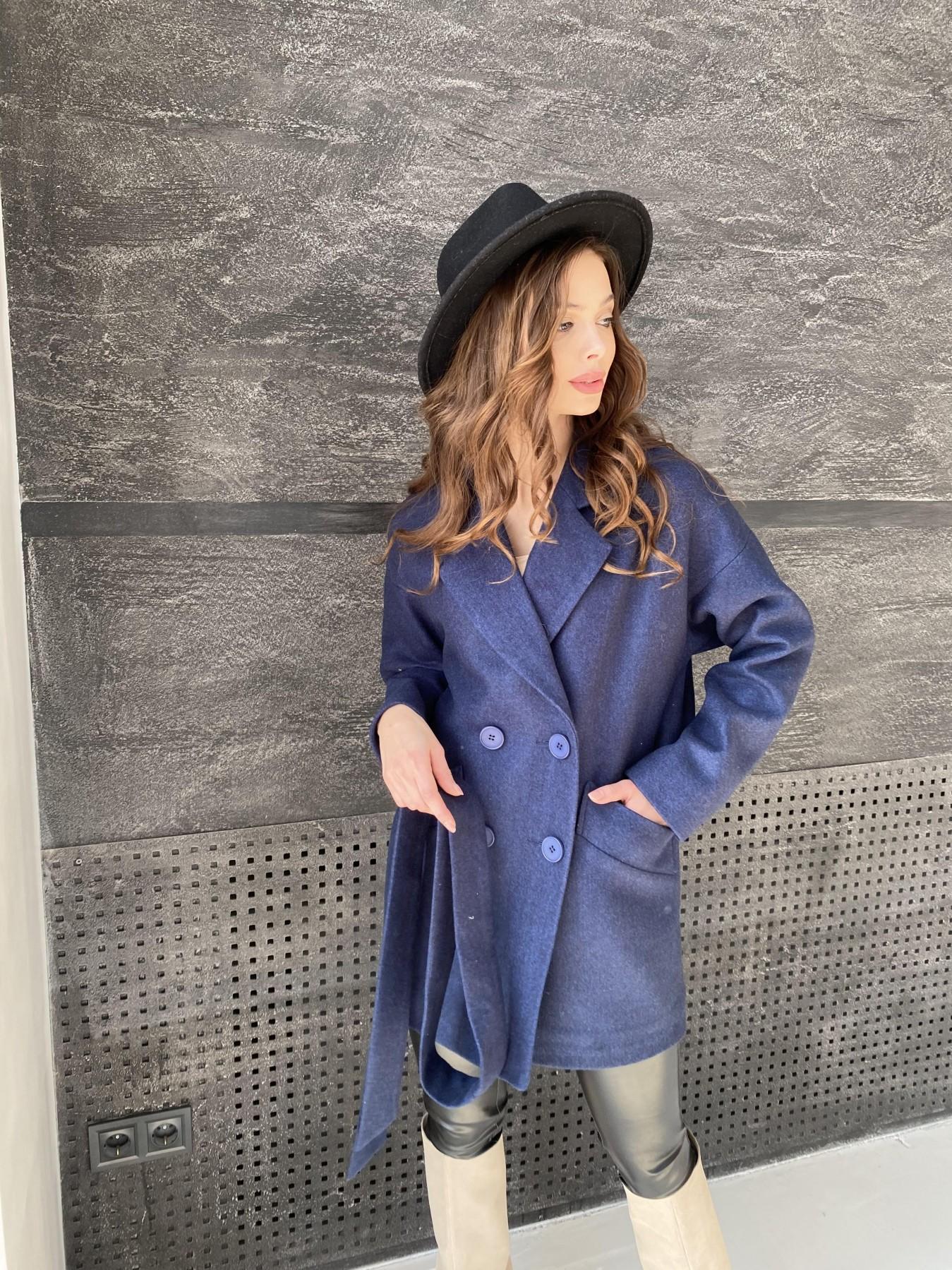 Бонд пальто  кашемировое меланж на трикотаже  10644 АРТ. 47180 Цвет: Т.синий 17 - фото 4, интернет магазин tm-modus.ru