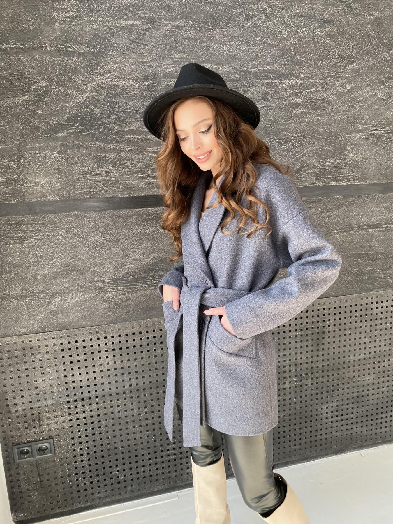 Бонд пальто  кашемировое меланж на трикотаже  10644 АРТ. 47182 Цвет: графит меланж - фото 1, интернет магазин tm-modus.ru