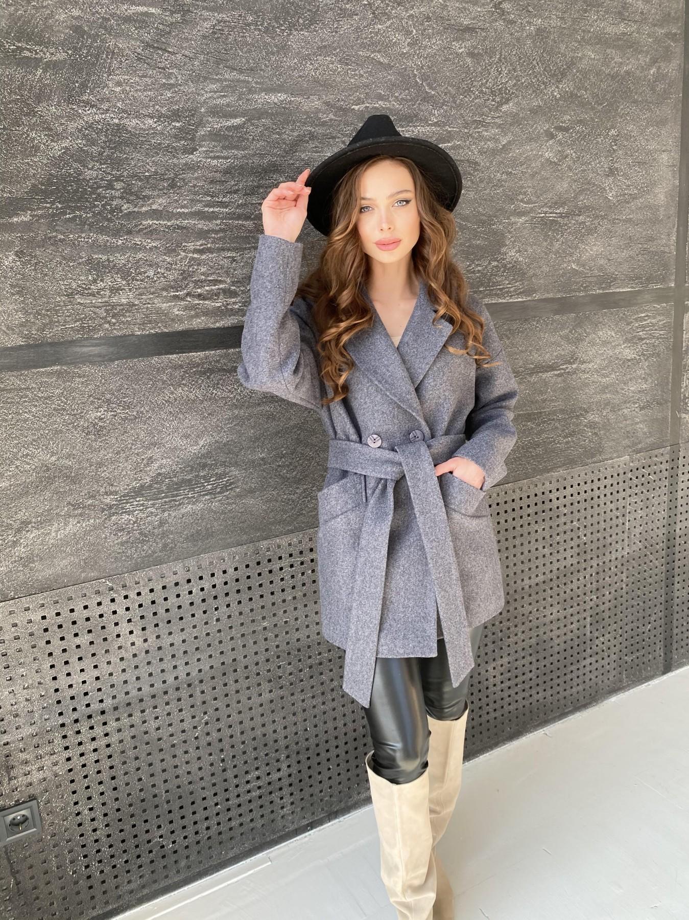 Бонд пальто  кашемировое меланж на трикотаже  10644 АРТ. 47182 Цвет: графит меланж - фото 2, интернет магазин tm-modus.ru