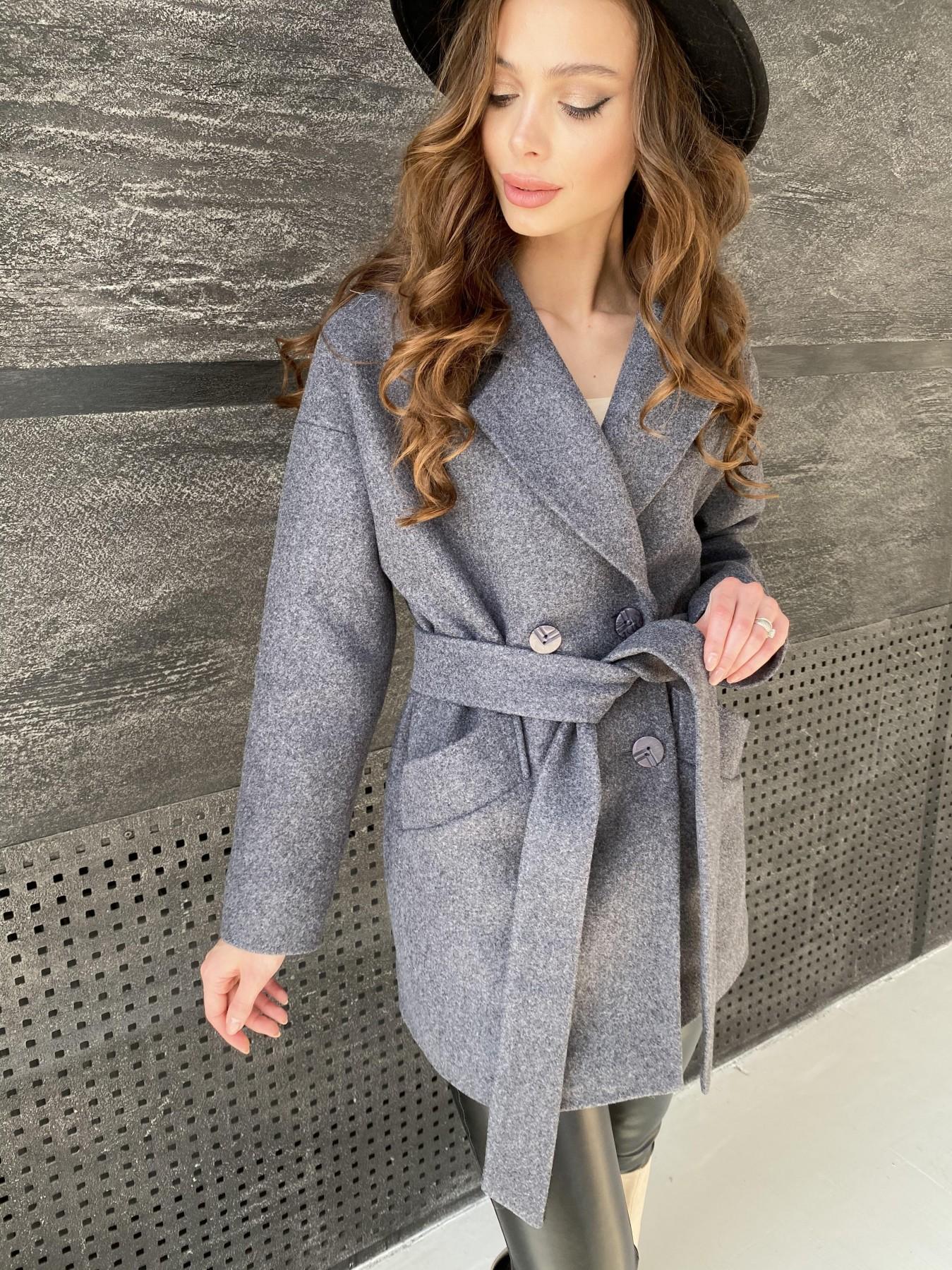 Бонд пальто  кашемировое меланж на трикотаже  10644 АРТ. 47182 Цвет: графит меланж - фото 3, интернет магазин tm-modus.ru
