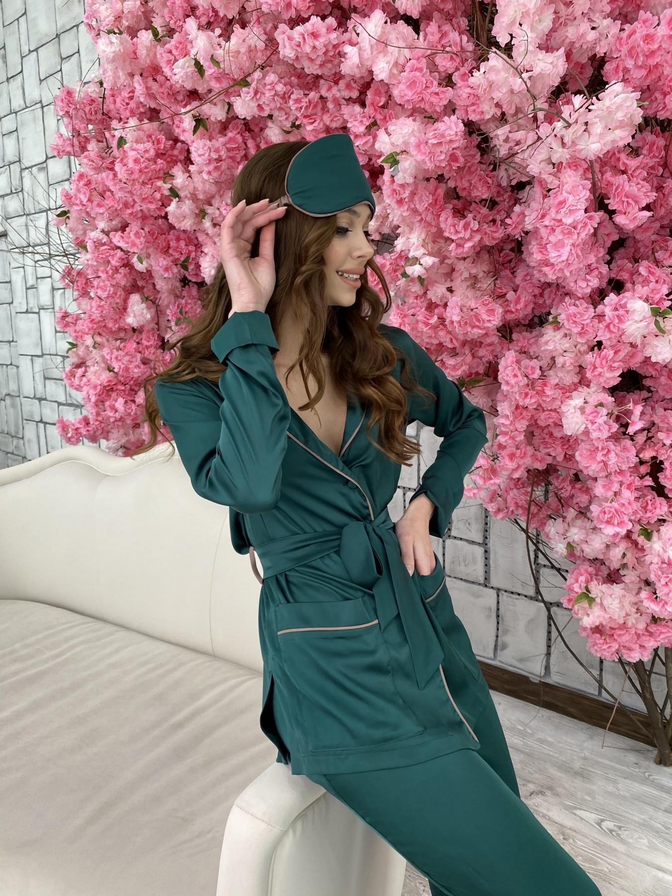 Шайн костюм из шелка  10778 АРТ. 47212 Цвет: Темно зеленый - фото 2, интернет магазин tm-modus.ru