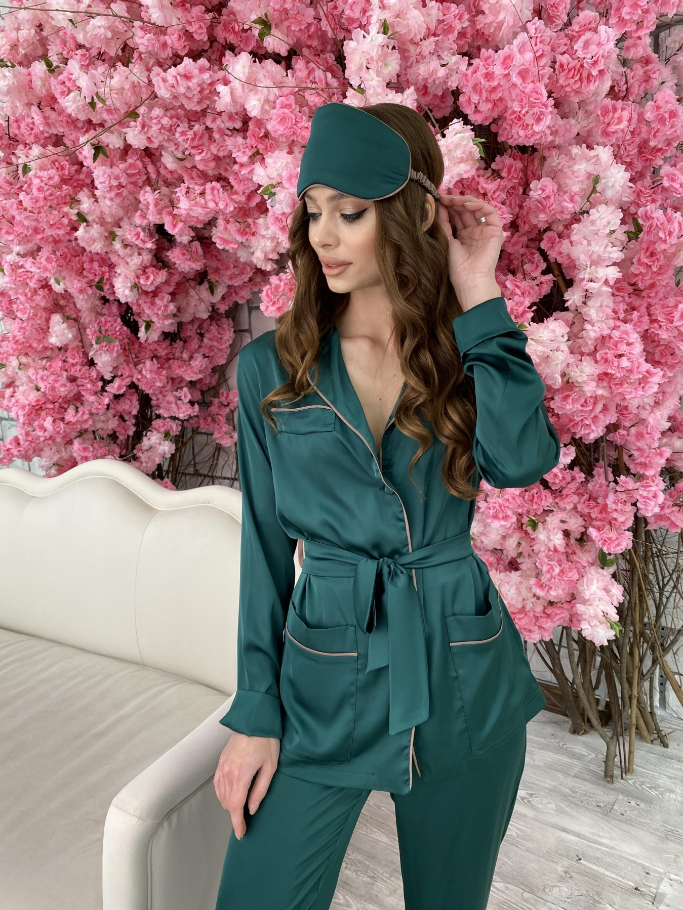 Шайн костюм из шелка  10778 АРТ. 47212 Цвет: Темно зеленый - фото 3, интернет магазин tm-modus.ru