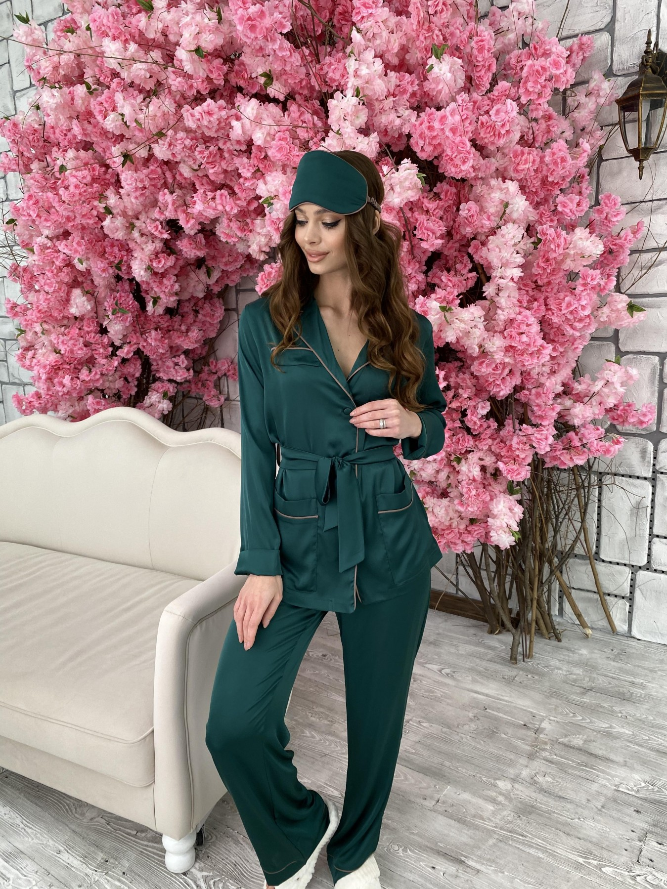 Шайн костюм из шелка  10778 АРТ. 47212 Цвет: Темно зеленый - фото 6, интернет магазин tm-modus.ru