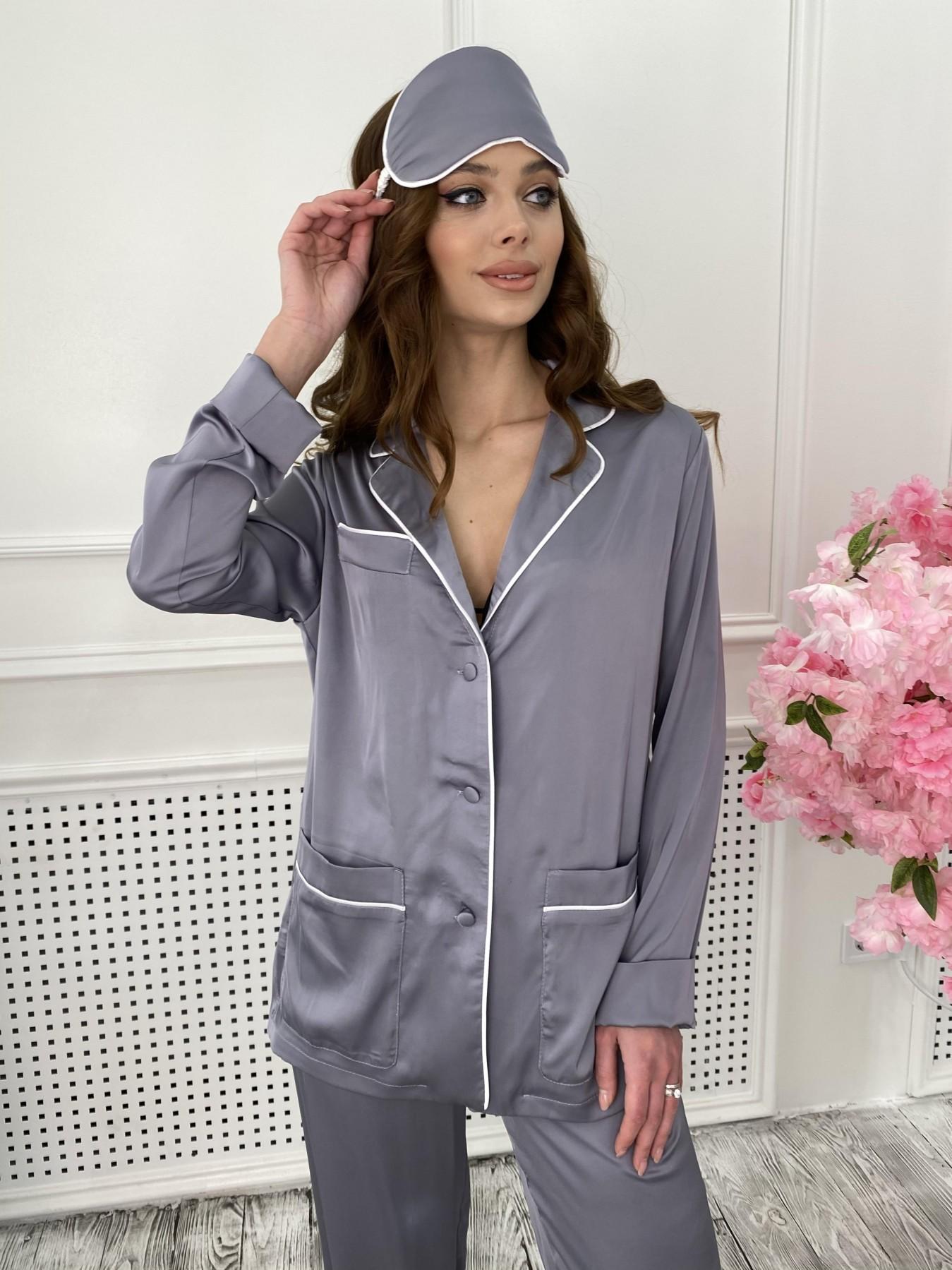 Шайн костюм из шелка  10778 АРТ. 47218 Цвет: темно серый - фото 3, интернет магазин tm-modus.ru