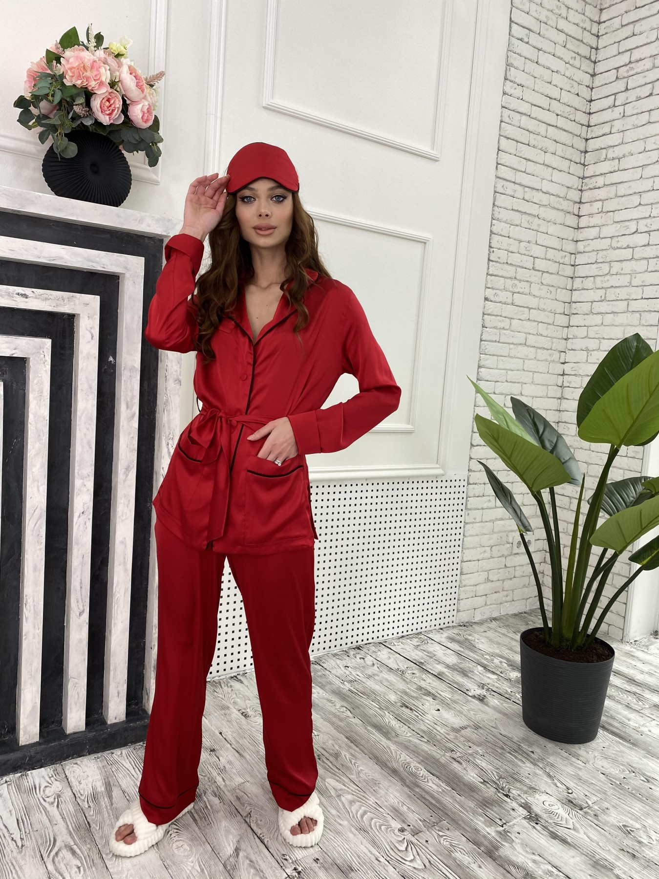 Шайн костюм из шелка  10778 АРТ. 47215 Цвет: Красный - фото 3, интернет магазин tm-modus.ru