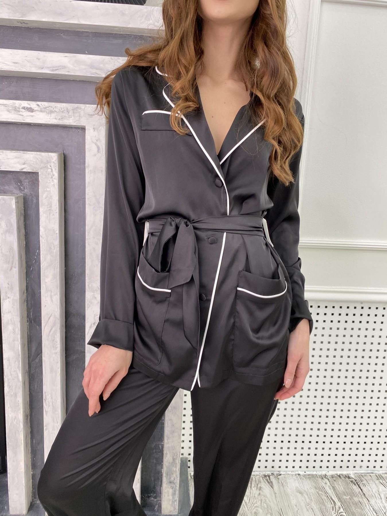 Шайн костюм из шелка  10778 АРТ. 47216 Цвет: Черный - фото 3, интернет магазин tm-modus.ru