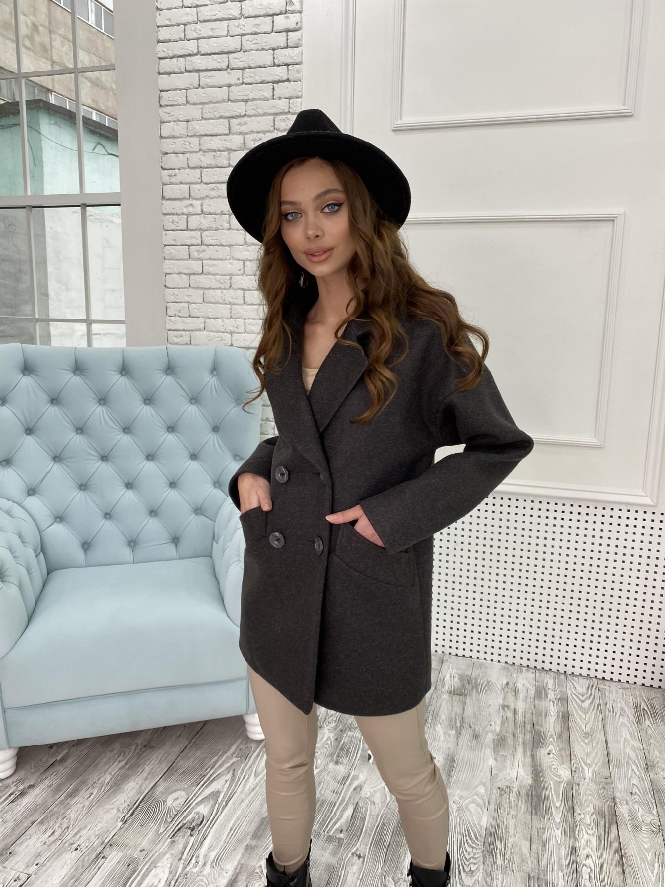 Бонд пальто  кашемировое меланж на трикотаже  10644 АРТ. 47183 Цвет: Черный меланж - фото 1, интернет магазин tm-modus.ru