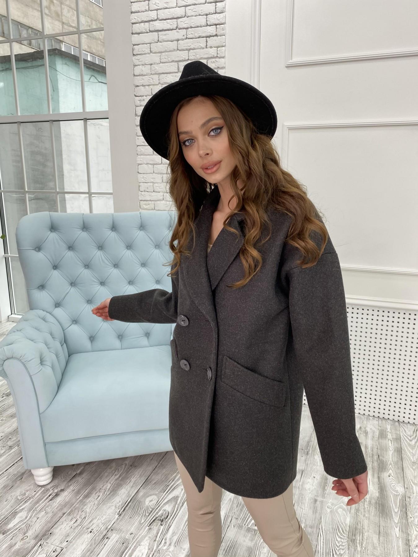 Бонд пальто  кашемировое меланж на трикотаже  10644 АРТ. 47183 Цвет: Черный меланж - фото 2, интернет магазин tm-modus.ru