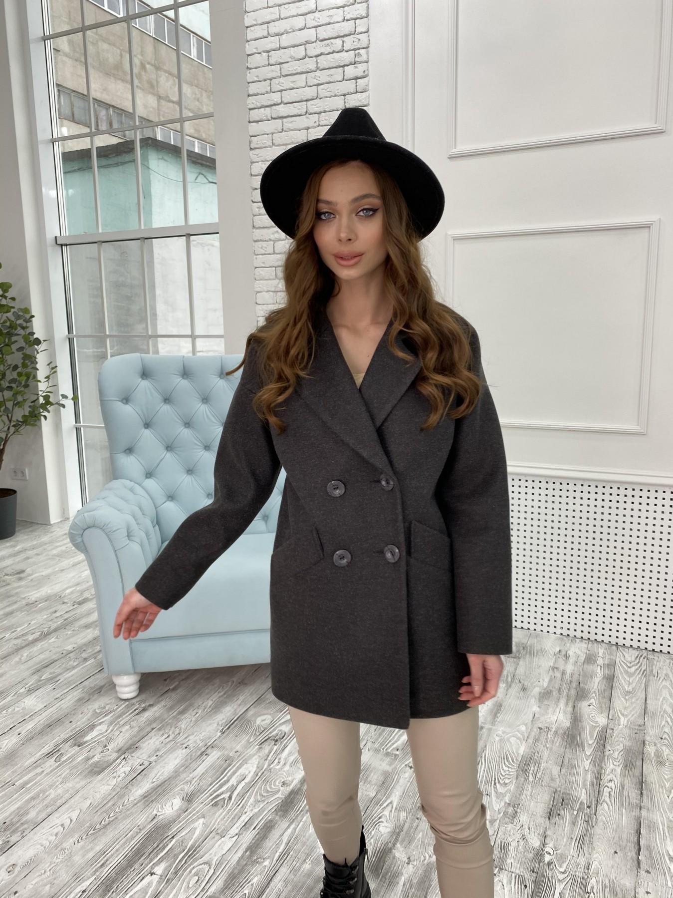 Бонд пальто  кашемировое меланж на трикотаже  10644 АРТ. 47183 Цвет: Черный меланж - фото 3, интернет магазин tm-modus.ru