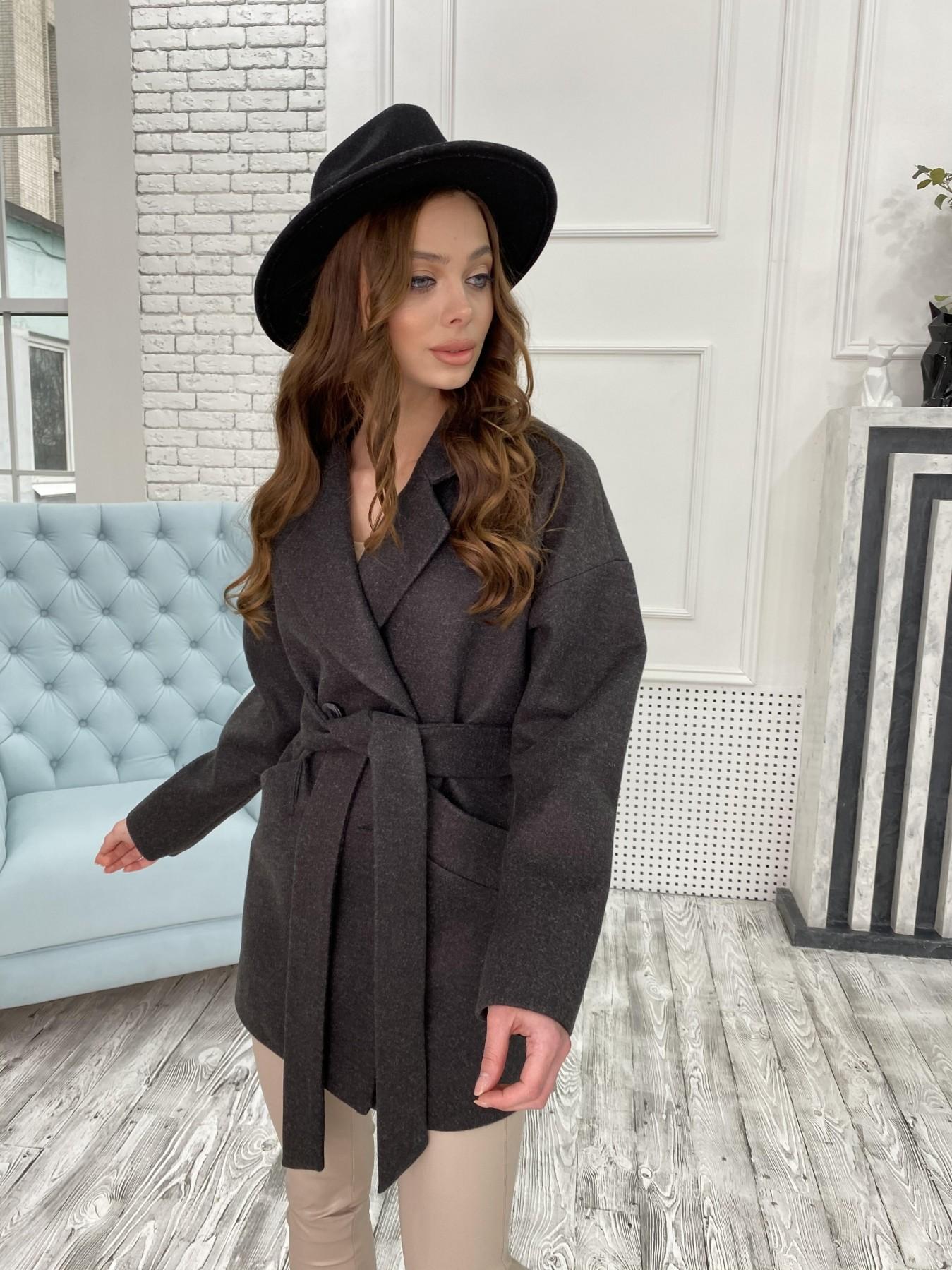 Бонд пальто  кашемировое меланж на трикотаже  10644 АРТ. 47183 Цвет: Черный меланж - фото 5, интернет магазин tm-modus.ru