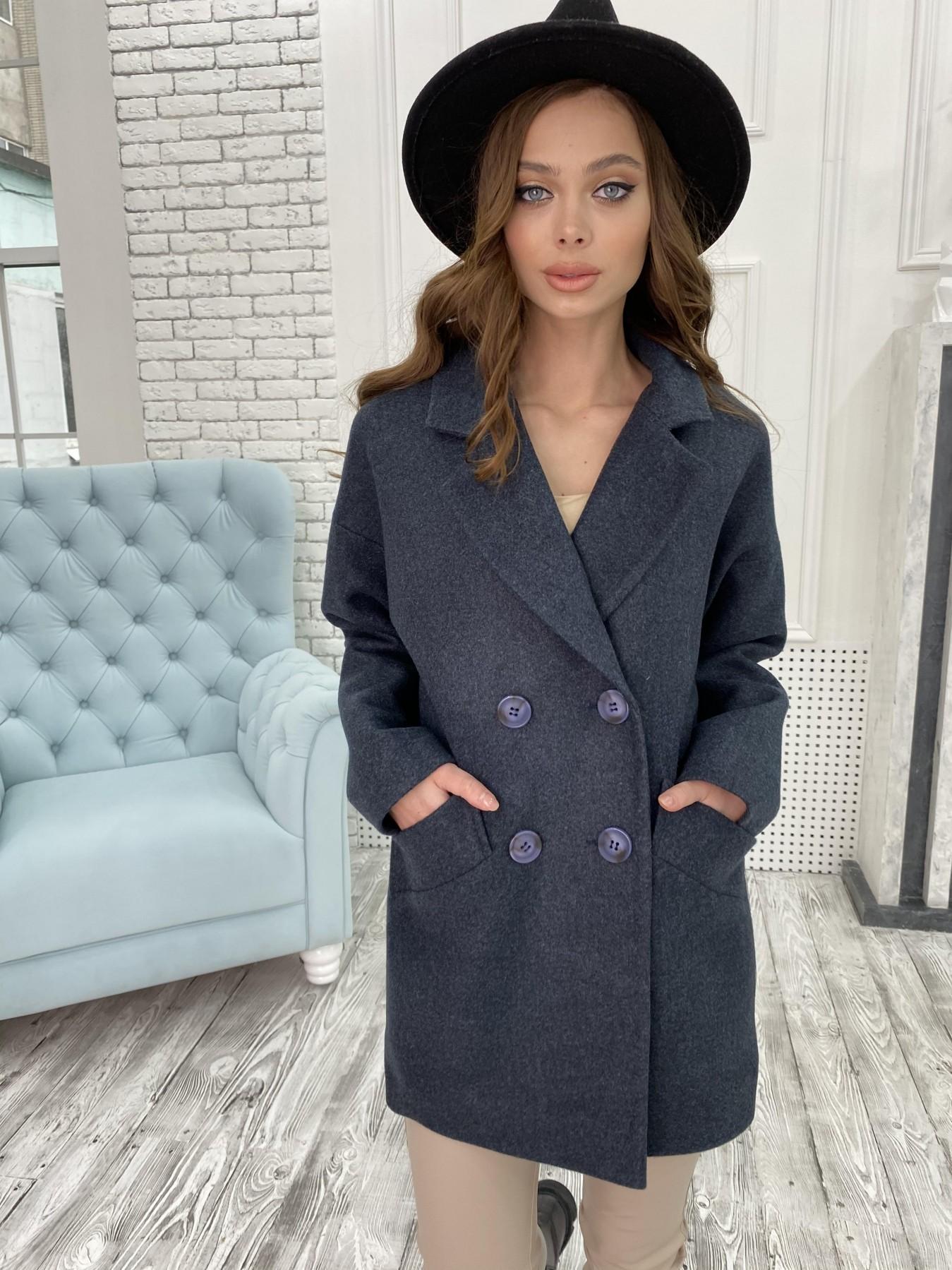 Бонд пальто  кашемировое меланж на трикотаже  10644 АРТ. 47186 Цвет: Т.синий 48 - фото 1, интернет магазин tm-modus.ru