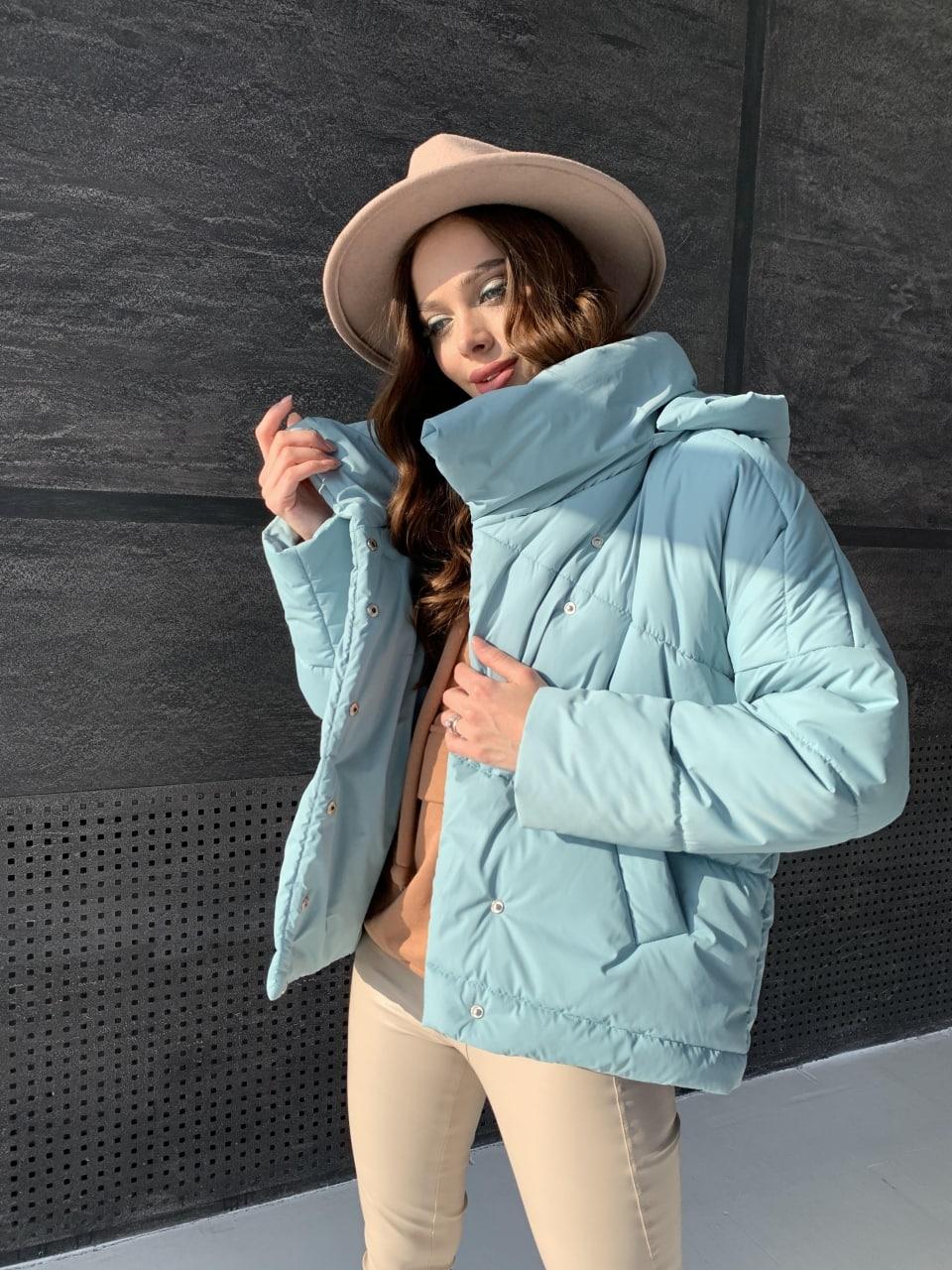 Уно short куртка из плащевой ткани Ammy 10927 АРТ. 47401 Цвет: Олива - фото 2, интернет магазин tm-modus.ru