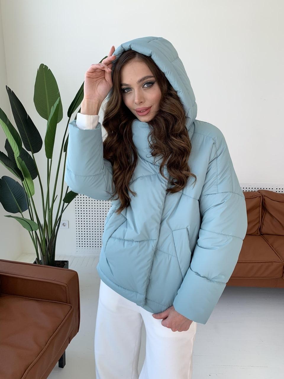 Уно short куртка из плащевой ткани Ammy 10927 АРТ. 47401 Цвет: Олива - фото 3, интернет магазин tm-modus.ru