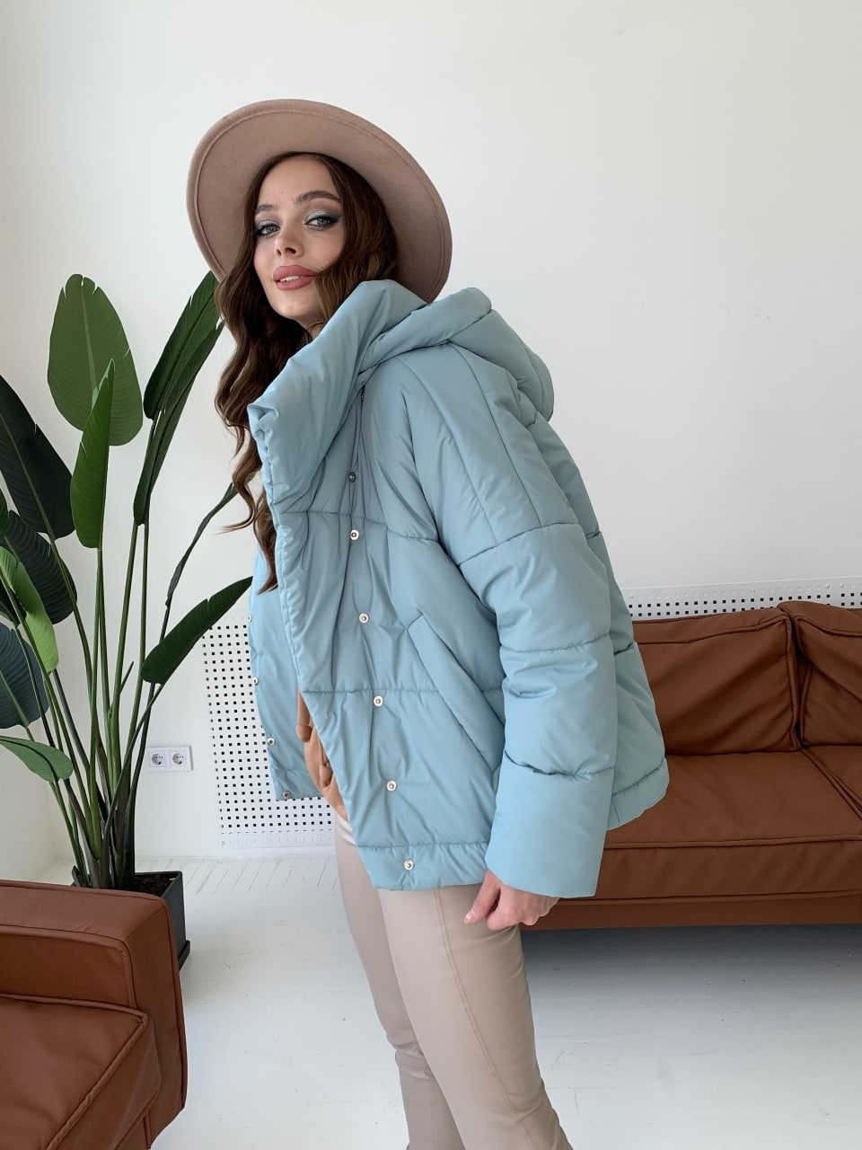 Уно short куртка из плащевой ткани Ammy 10927 АРТ. 47401 Цвет: Олива - фото 8, интернет магазин tm-modus.ru