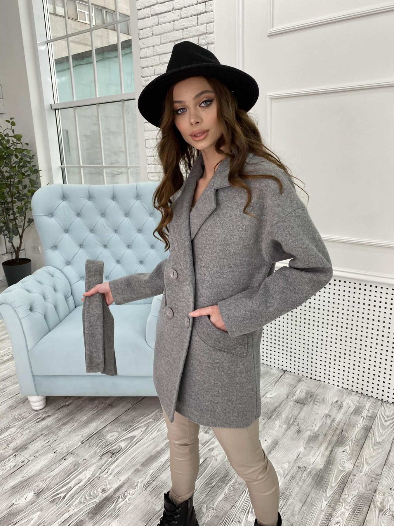 Бонд пальто  кашемировое меланж на трикотаже  10644 АРТ. 47176 Цвет: Серый 1 - фото 1, интернет магазин tm-modus.ru