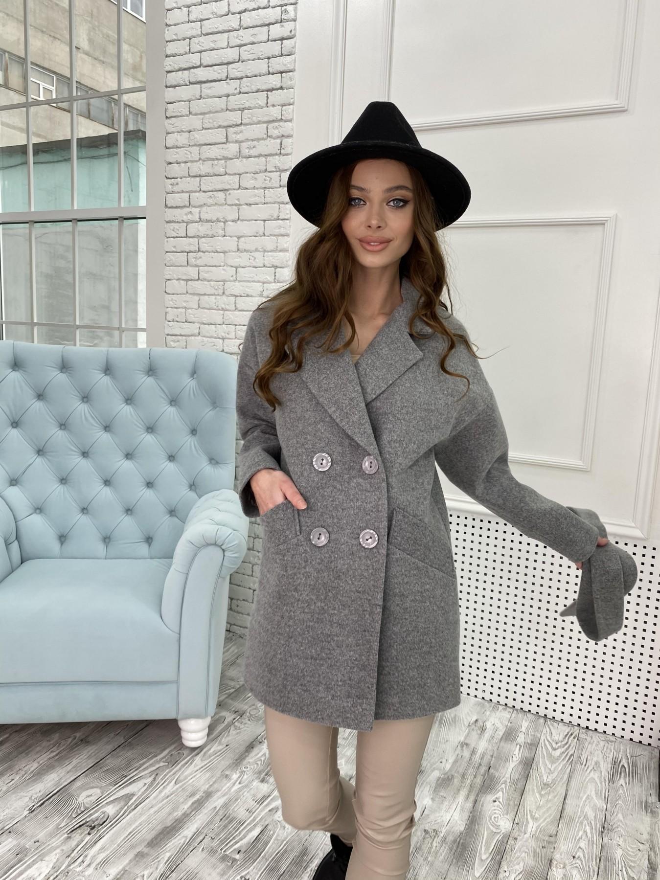 Бонд пальто  кашемировое меланж на трикотаже  10644 АРТ. 47176 Цвет: Серый 1 - фото 2, интернет магазин tm-modus.ru