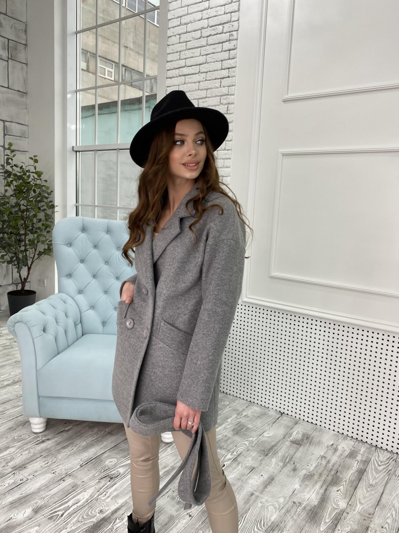 Бонд пальто  кашемировое меланж на трикотаже  10644 АРТ. 47176 Цвет: Серый 1 - фото 3, интернет магазин tm-modus.ru