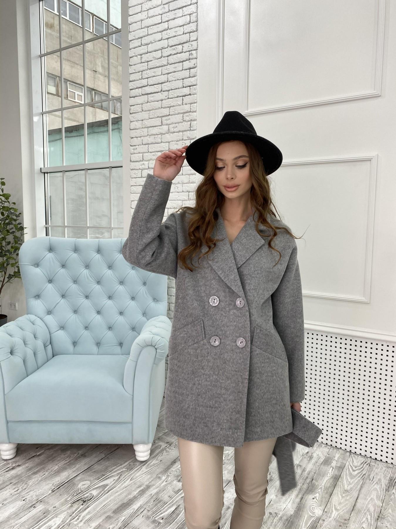 Бонд пальто  кашемировое меланж на трикотаже  10644 АРТ. 47176 Цвет: Серый 1 - фото 4, интернет магазин tm-modus.ru