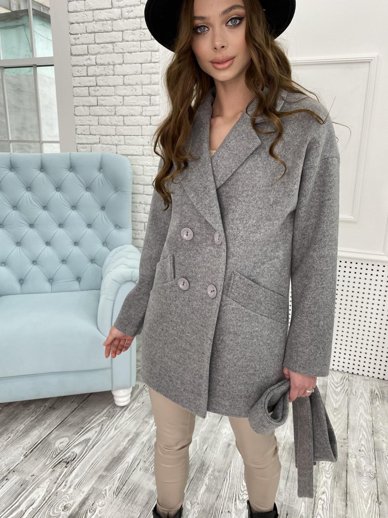 Бонд пальто  кашемировое меланж на трикотаже  10644 АРТ. 47176 Цвет: Серый 1 - фото 5, интернет магазин tm-modus.ru