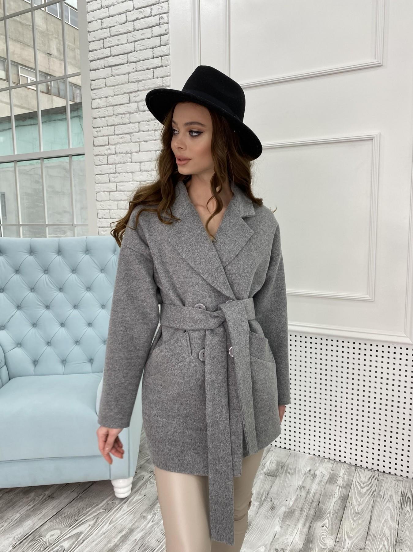 Бонд пальто  кашемировое меланж на трикотаже  10644 АРТ. 47176 Цвет: Серый 1 - фото 6, интернет магазин tm-modus.ru