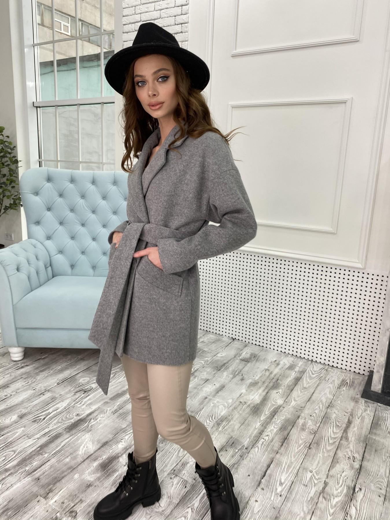 Бонд пальто  кашемировое меланж на трикотаже  10644 АРТ. 47176 Цвет: Серый 1 - фото 7, интернет магазин tm-modus.ru