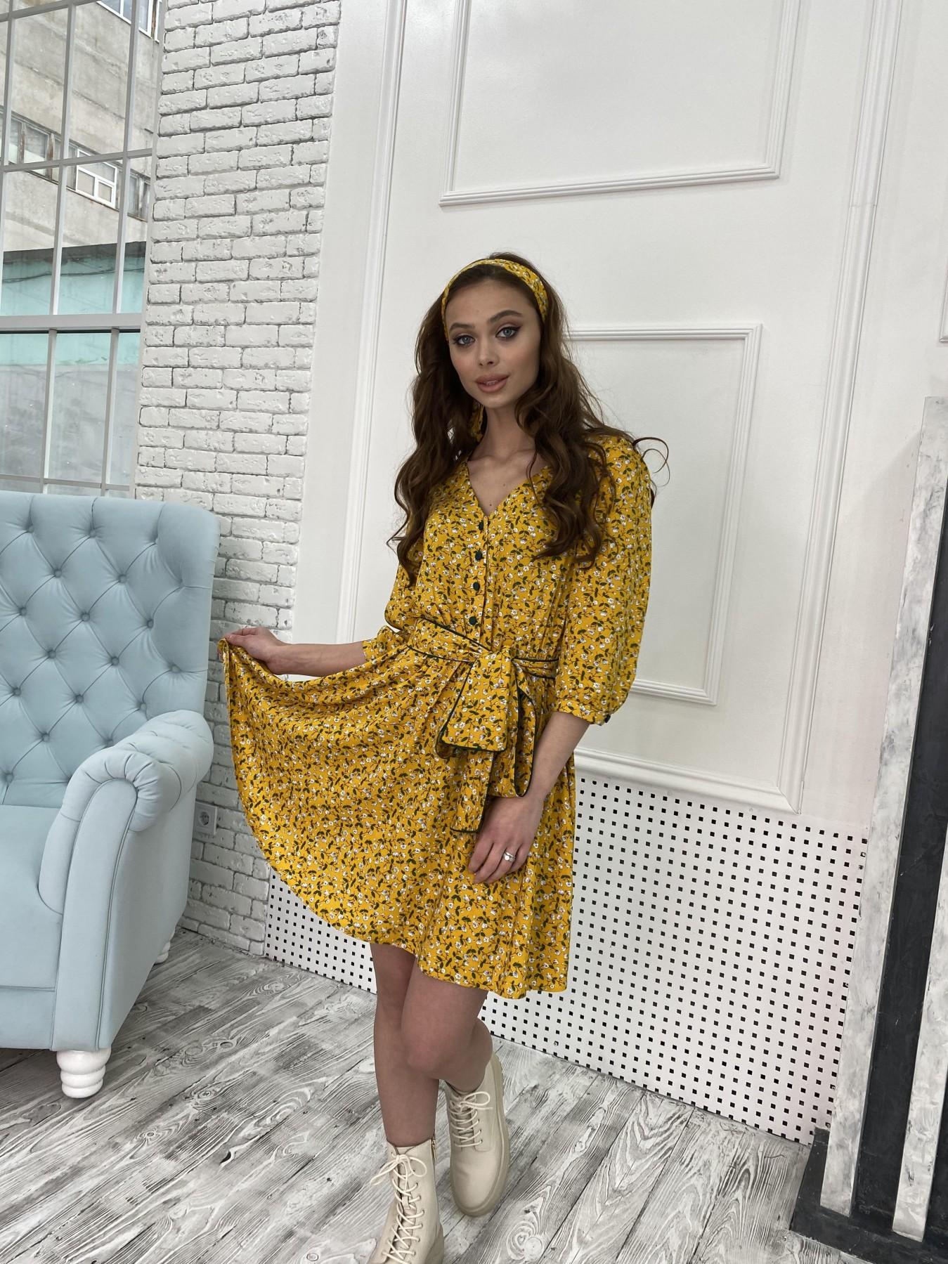 Джейн костюмка штапель принт платье 10881 АРТ. 47352 Цвет: Цветы мел горч/бел/гол - фото 1, интернет магазин tm-modus.ru