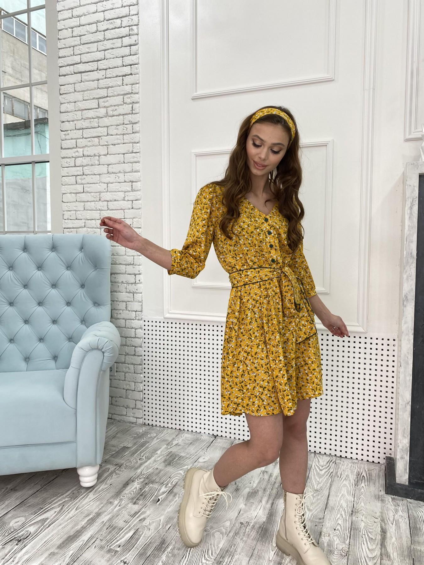Джейн костюмка штапель принт платье 10881 АРТ. 47352 Цвет: Цветы мел горч/бел/гол - фото 2, интернет магазин tm-modus.ru
