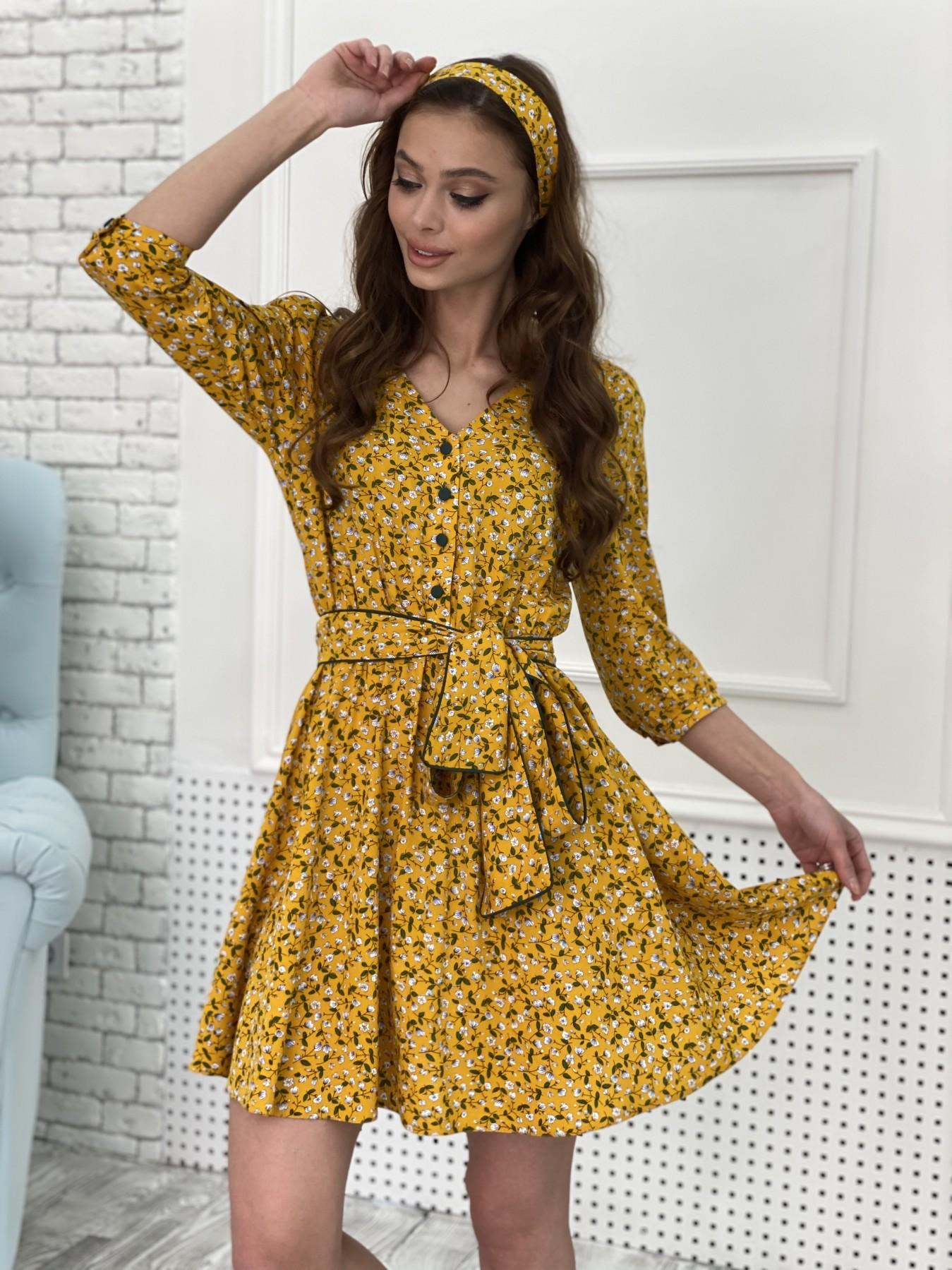 Джейн костюмка штапель принт платье 10881 АРТ. 47352 Цвет: Цветы мел горч/бел/гол - фото 4, интернет магазин tm-modus.ru