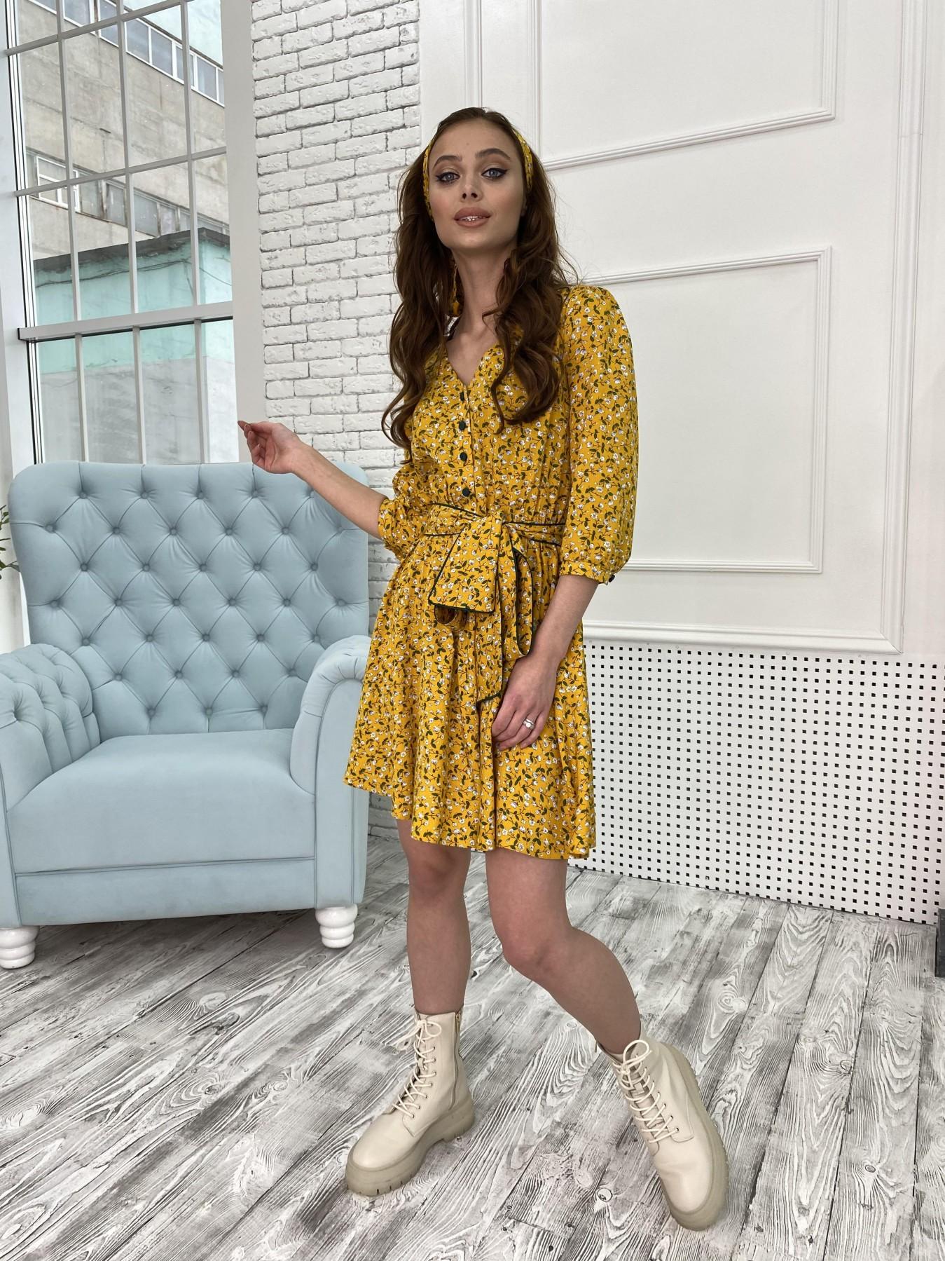 Джейн костюмка штапель принт платье 10881 АРТ. 47352 Цвет: Цветы мел горч/бел/гол - фото 5, интернет магазин tm-modus.ru