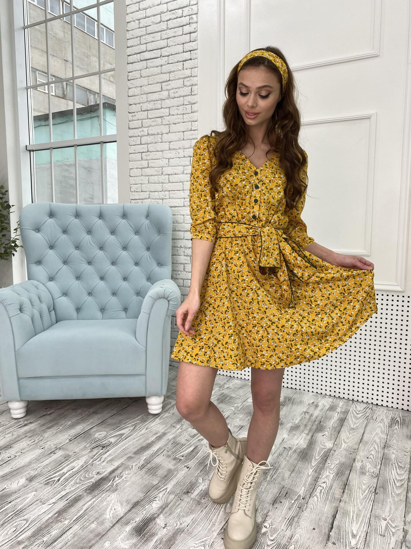 Джейн костюмка штапель принт платье 10881 АРТ. 47352 Цвет: Цветы мел горч/бел/гол - фото 6, интернет магазин tm-modus.ru