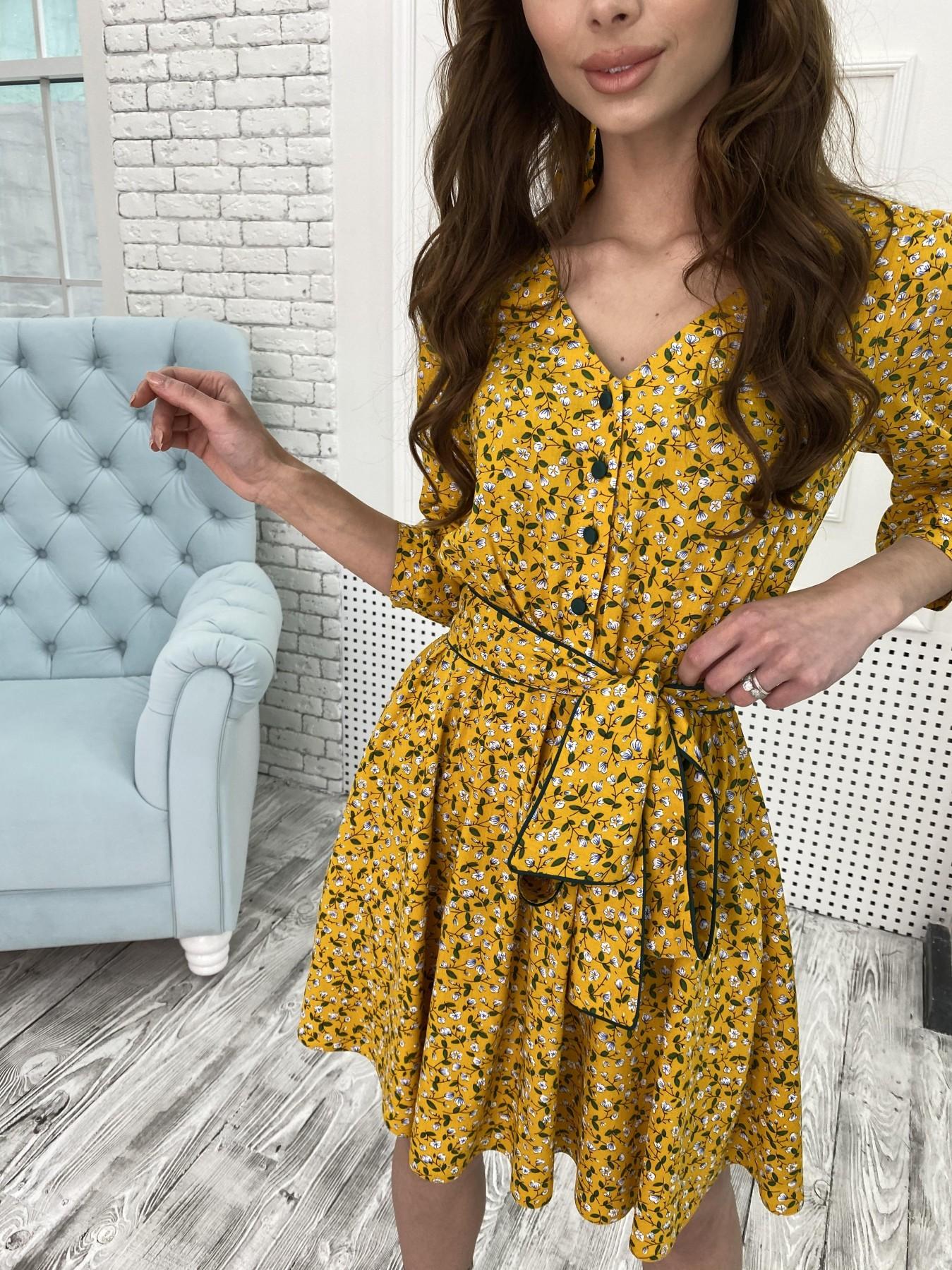 Джейн костюмка штапель принт платье 10881 АРТ. 47352 Цвет: Цветы мел горч/бел/гол - фото 8, интернет магазин tm-modus.ru