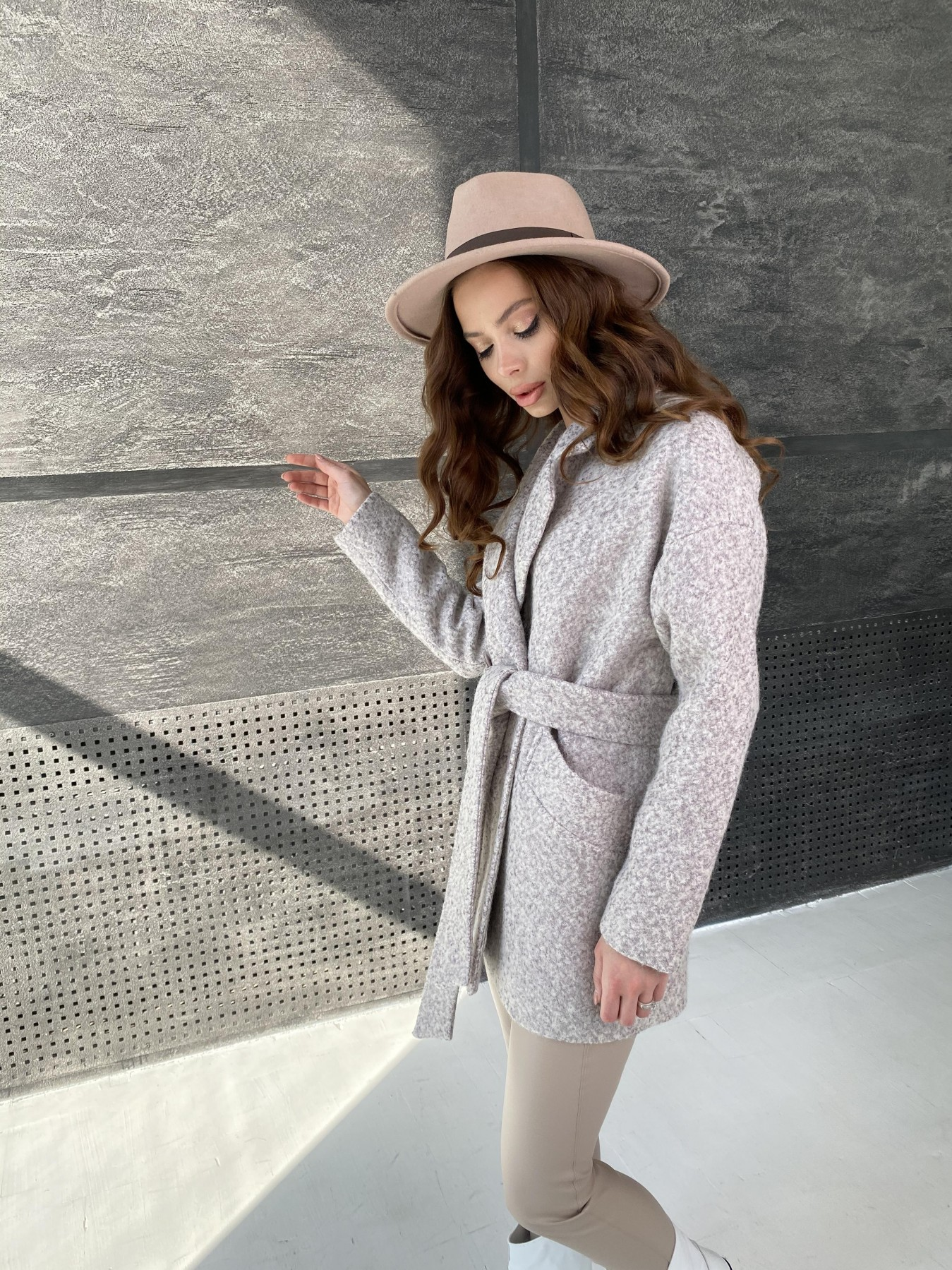 Бонд пальто из шерсти букле  10770 АРТ. 47196 Цвет: Серо-бежевый - фото 3, интернет магазин tm-modus.ru