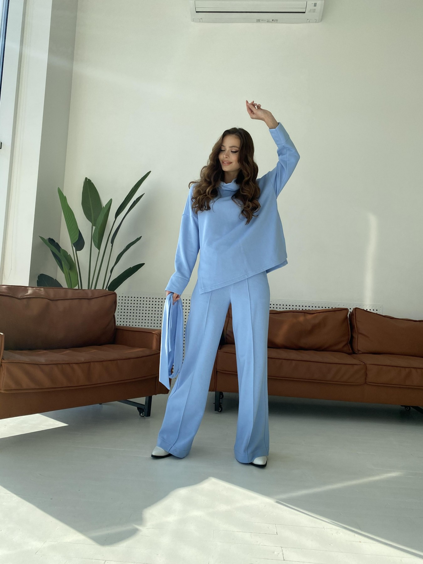 Джаст костюм Oversize  3х нитка 10564 АРТ. 47245 Цвет: Голубой - фото 4, интернет магазин tm-modus.ru