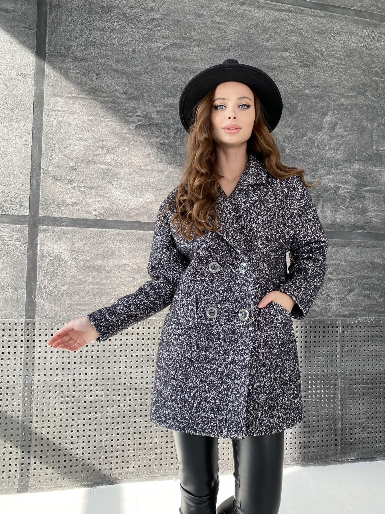 Бонд пальто из шерсти букле  10770 АРТ. 47197 Цвет: Черно серый 61 - фото 1, интернет магазин tm-modus.ru