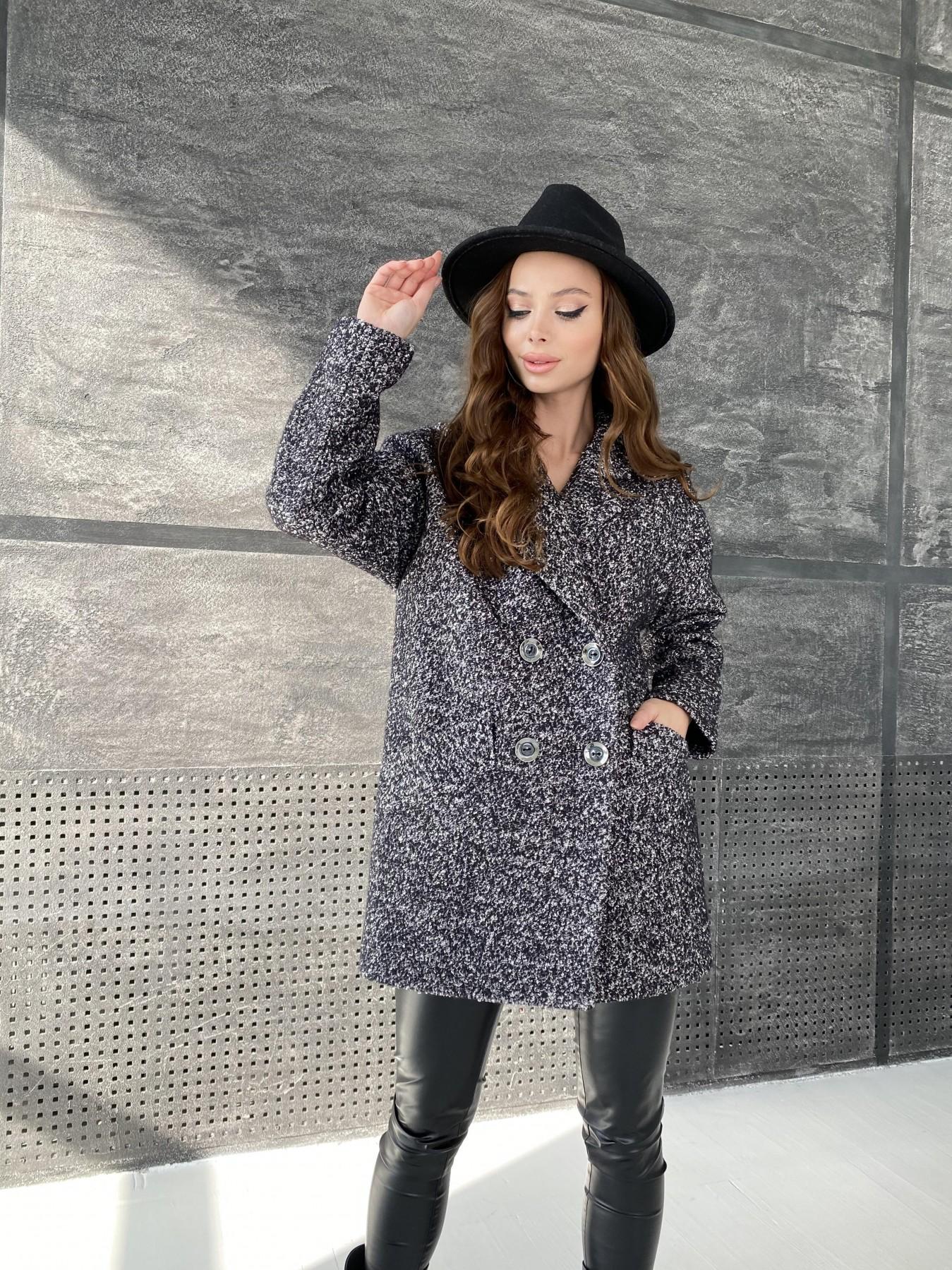 Бонд пальто из шерсти букле  10770 АРТ. 47197 Цвет: Черно серый 61 - фото 2, интернет магазин tm-modus.ru