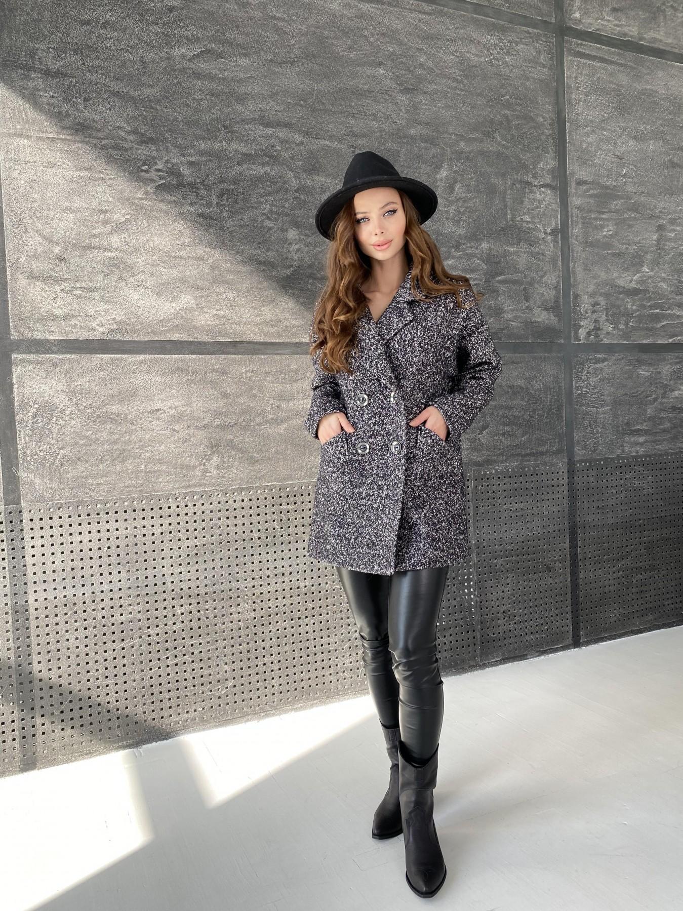 Бонд пальто из шерсти букле  10770 АРТ. 47197 Цвет: Черно серый 61 - фото 3, интернет магазин tm-modus.ru