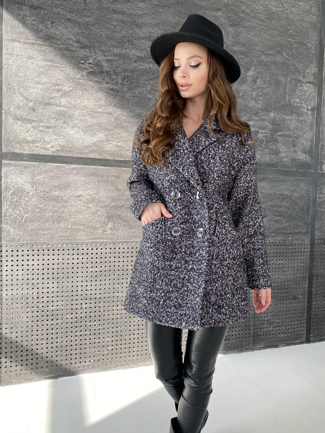 Бонд пальто из шерсти букле  10770 АРТ. 47197 Цвет: Черно серый 61 - фото 4, интернет магазин tm-modus.ru