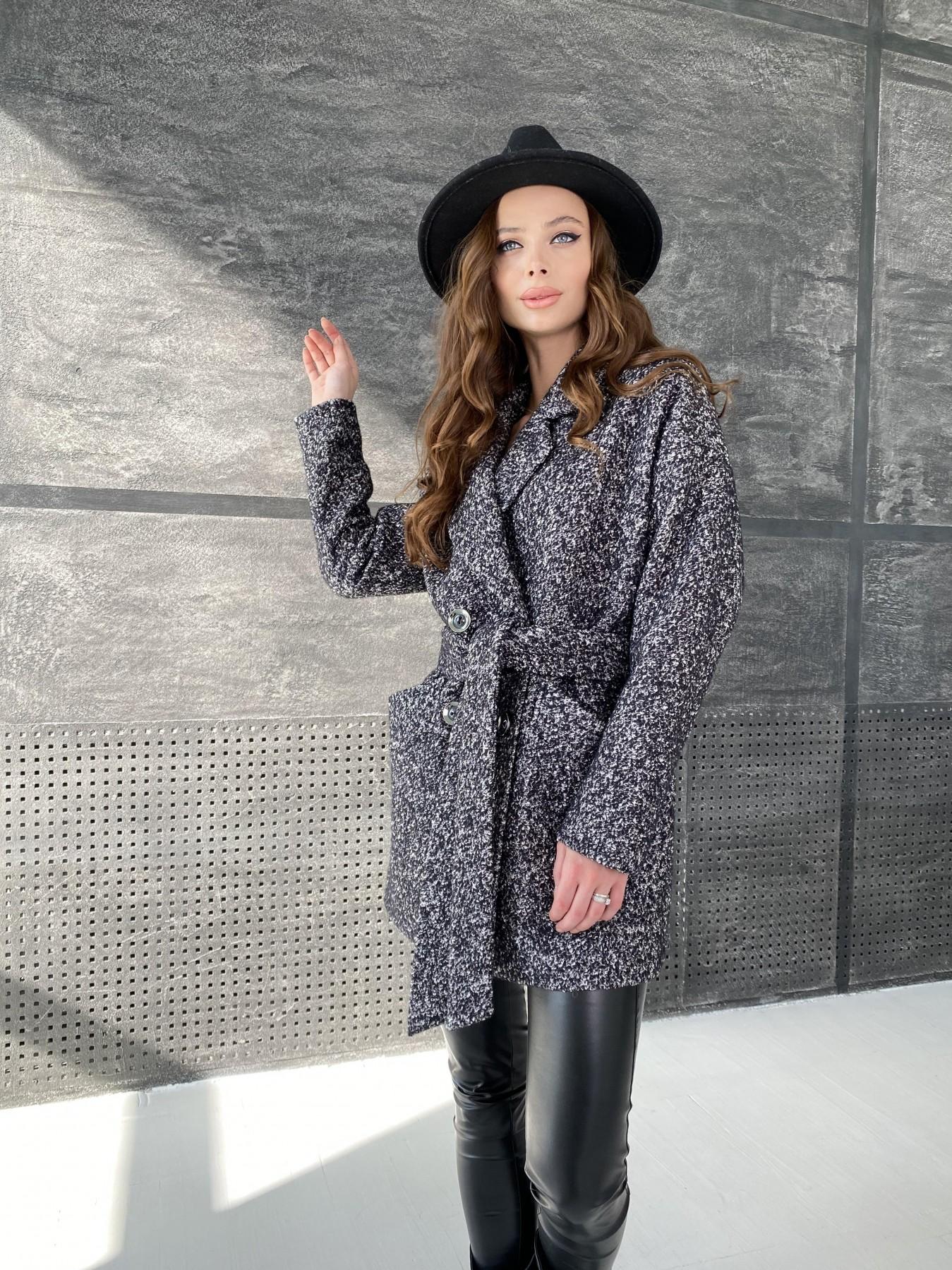 Бонд пальто из шерсти букле  10770 АРТ. 47197 Цвет: Черно серый 61 - фото 6, интернет магазин tm-modus.ru