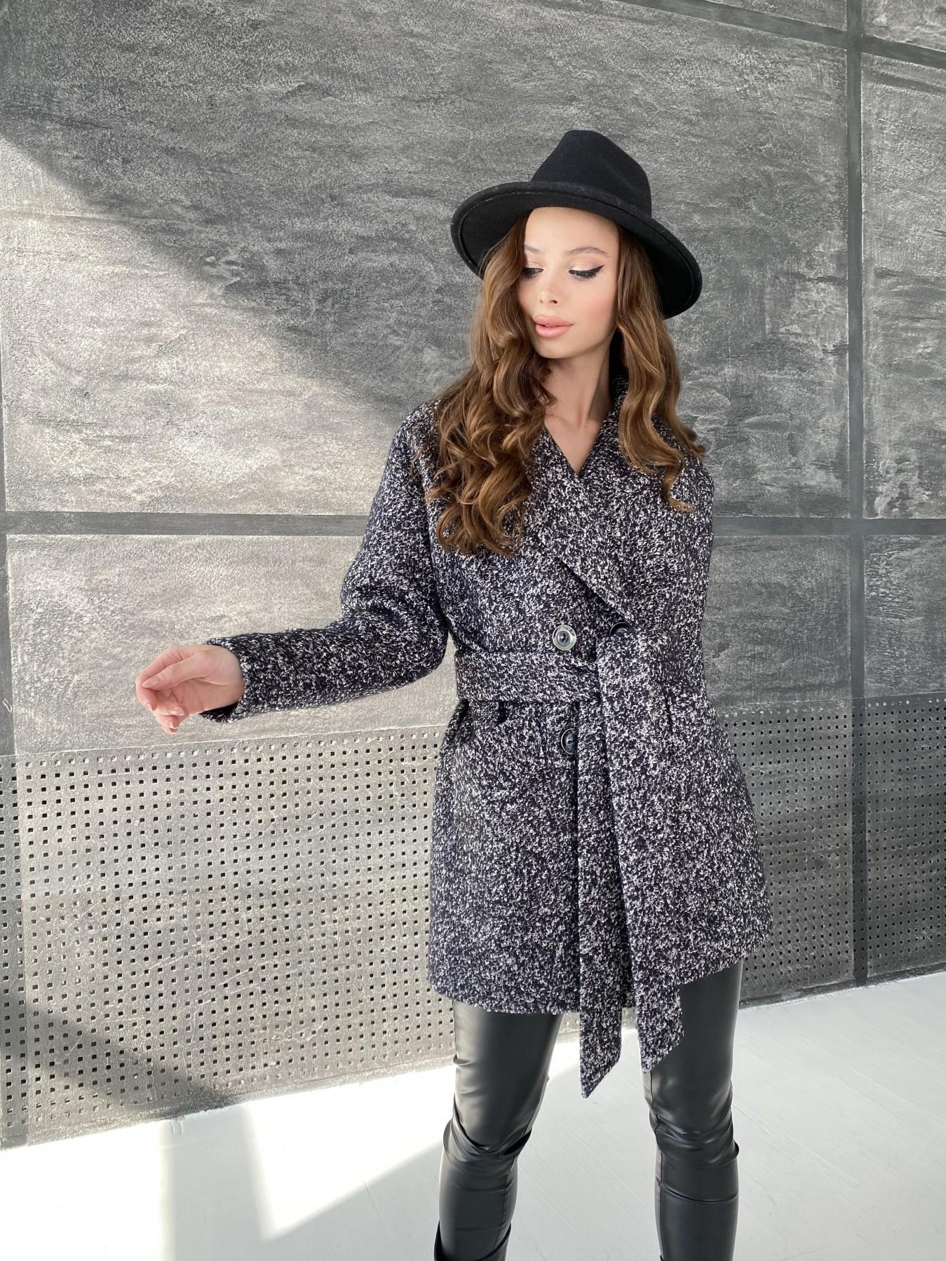 Бонд пальто из шерсти букле  10770 АРТ. 47197 Цвет: Черно серый 61 - фото 7, интернет магазин tm-modus.ru