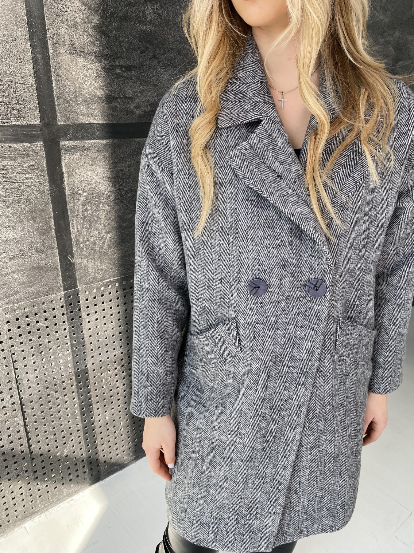 Сенсей Елка пальтовая ткань пальто 10791 АРТ. 47274 Цвет: Черно-Белый - фото 4, интернет магазин tm-modus.ru