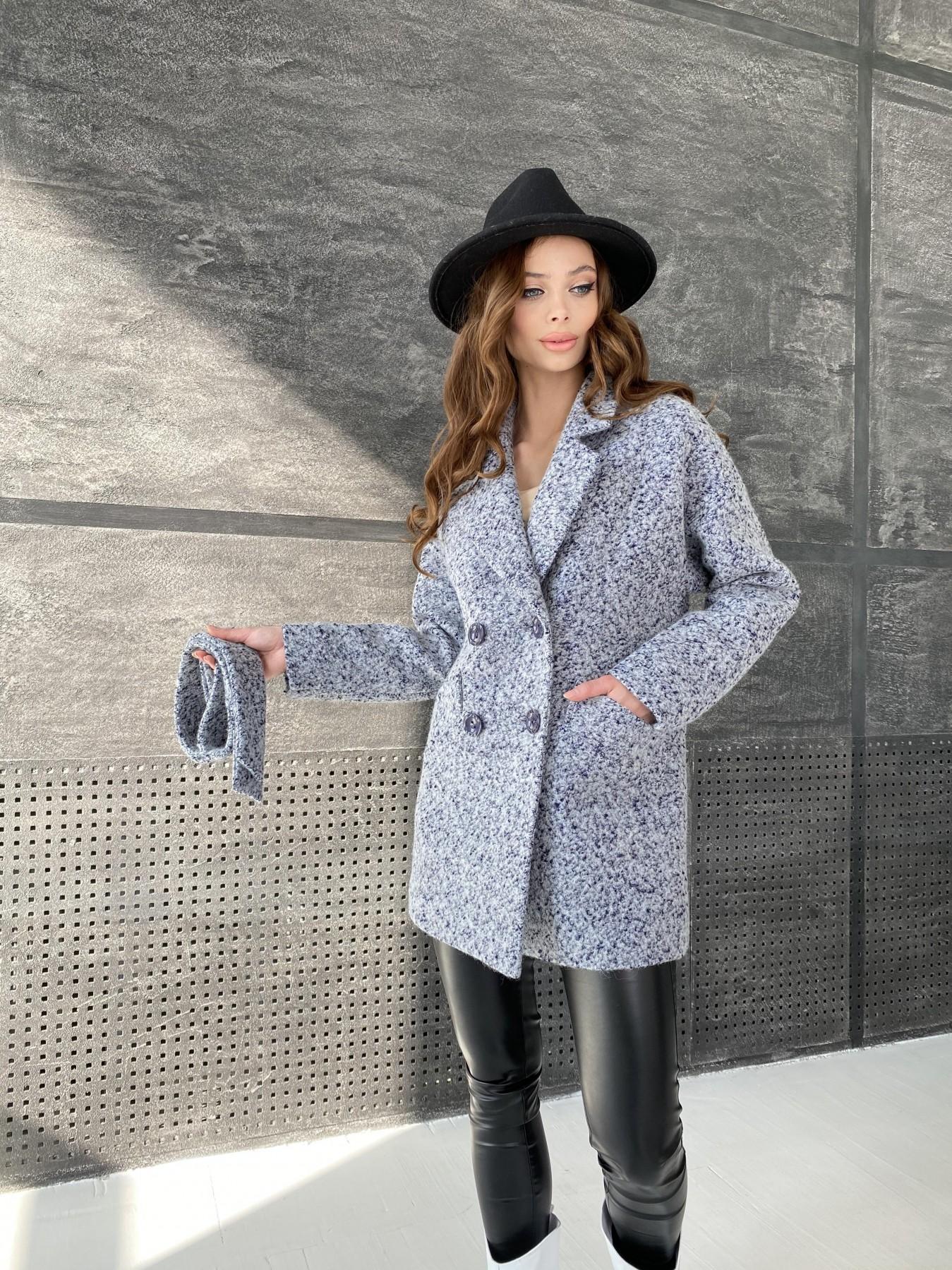 Бонд пальто из шерсти букле  10770 АРТ. 47199 Цвет: Серо-голубой 60 - фото 1, интернет магазин tm-modus.ru