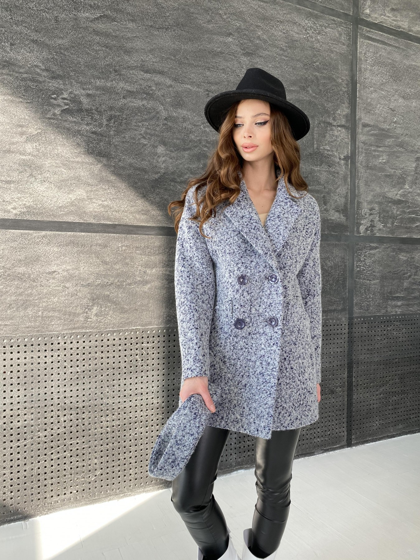 Бонд пальто из шерсти букле  10770 АРТ. 47199 Цвет: Серо-голубой 60 - фото 2, интернет магазин tm-modus.ru