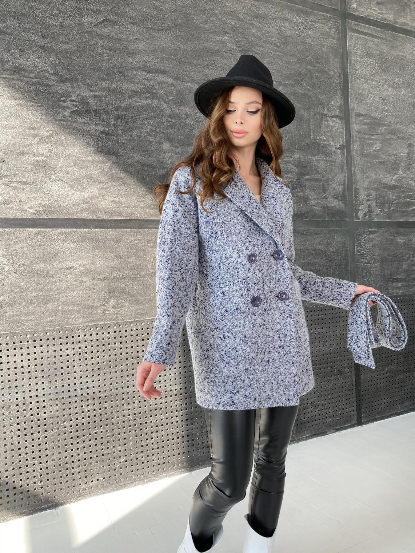 Бонд пальто из шерсти букле  10770 АРТ. 47199 Цвет: Серо-голубой 60 - фото 4, интернет магазин tm-modus.ru