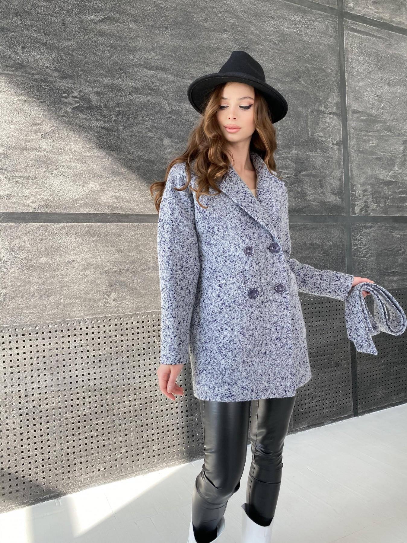 Бонд пальто из шерсти букле  10770 АРТ. 47199 Цвет: Серо-голубой 60 - фото 5, интернет магазин tm-modus.ru