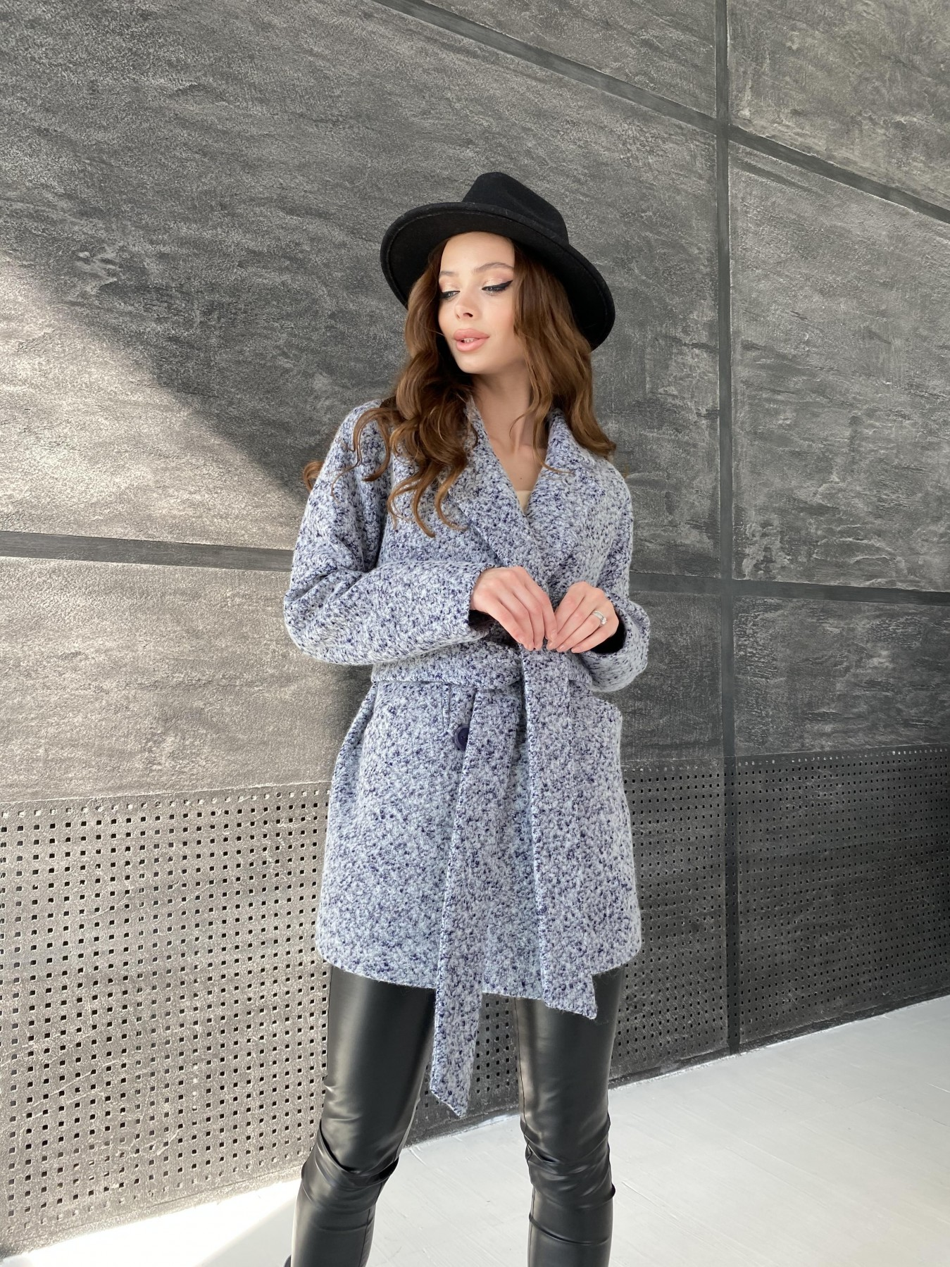 Бонд пальто из шерсти букле  10770 АРТ. 47199 Цвет: Серо-голубой 60 - фото 7, интернет магазин tm-modus.ru