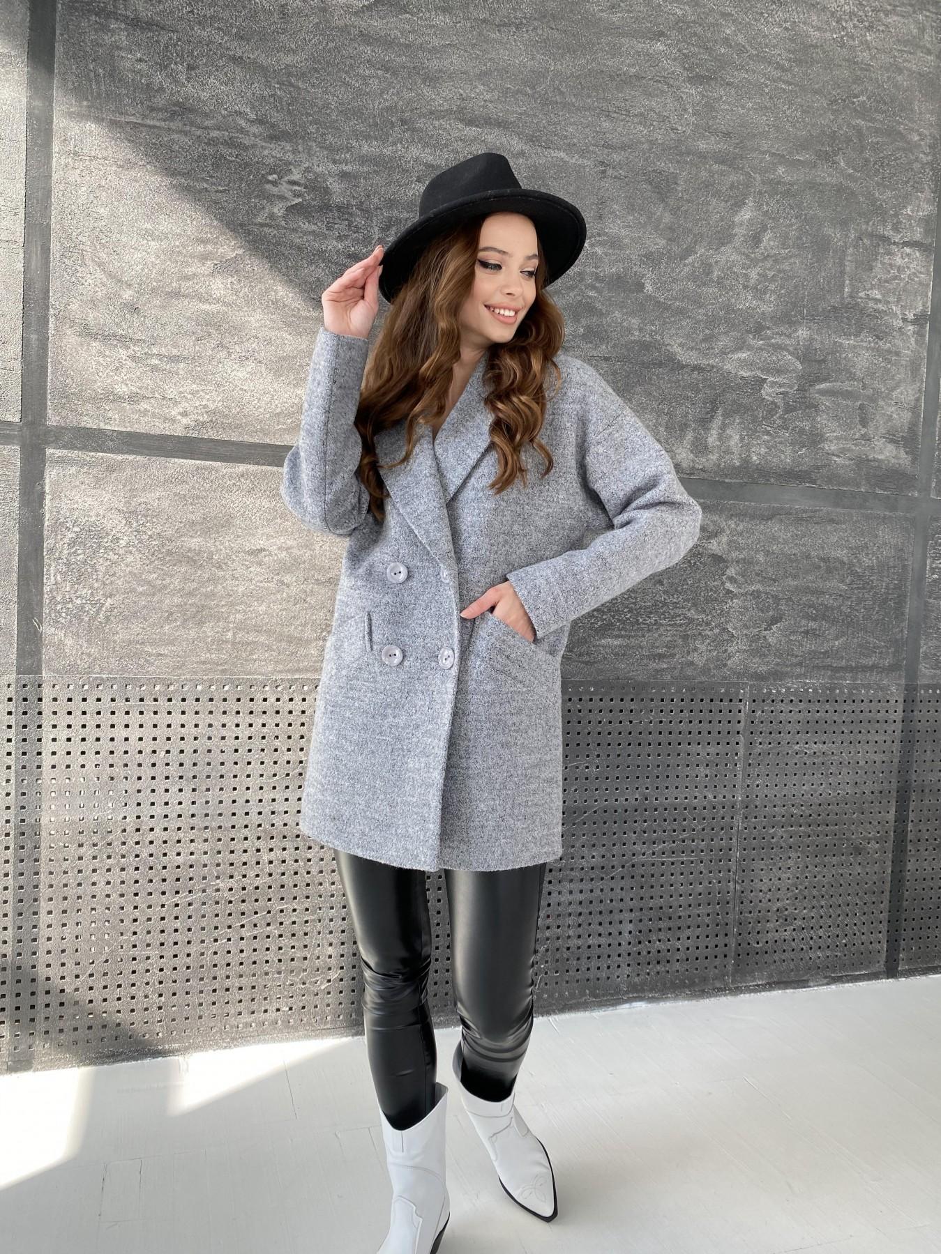 Бонд пальто из шерсти букле  10770 АРТ. 47198 Цвет: Серый 48 - фото 1, интернет магазин tm-modus.ru