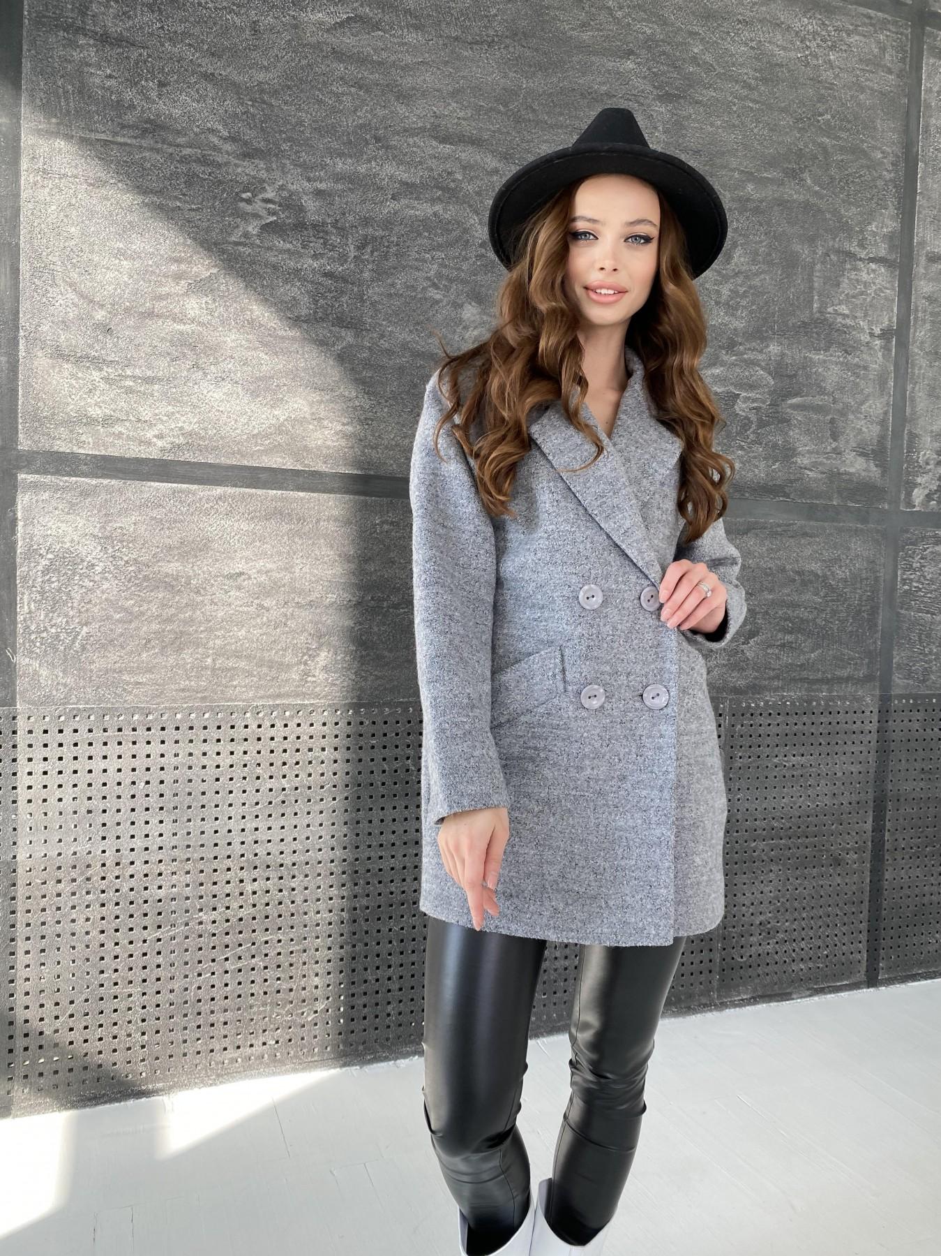 Бонд пальто из шерсти букле  10770 АРТ. 47198 Цвет: Серый 48 - фото 2, интернет магазин tm-modus.ru