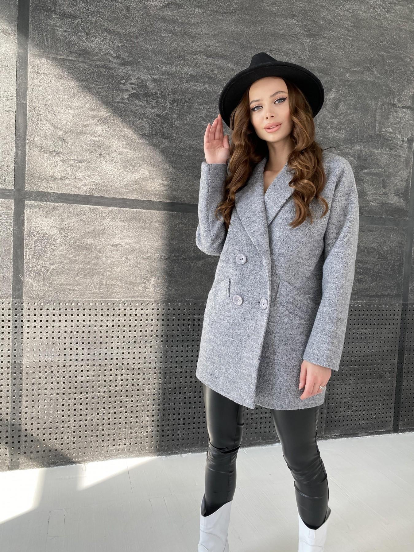 Бонд пальто из шерсти букле  10770 АРТ. 47198 Цвет: Серый 48 - фото 3, интернет магазин tm-modus.ru