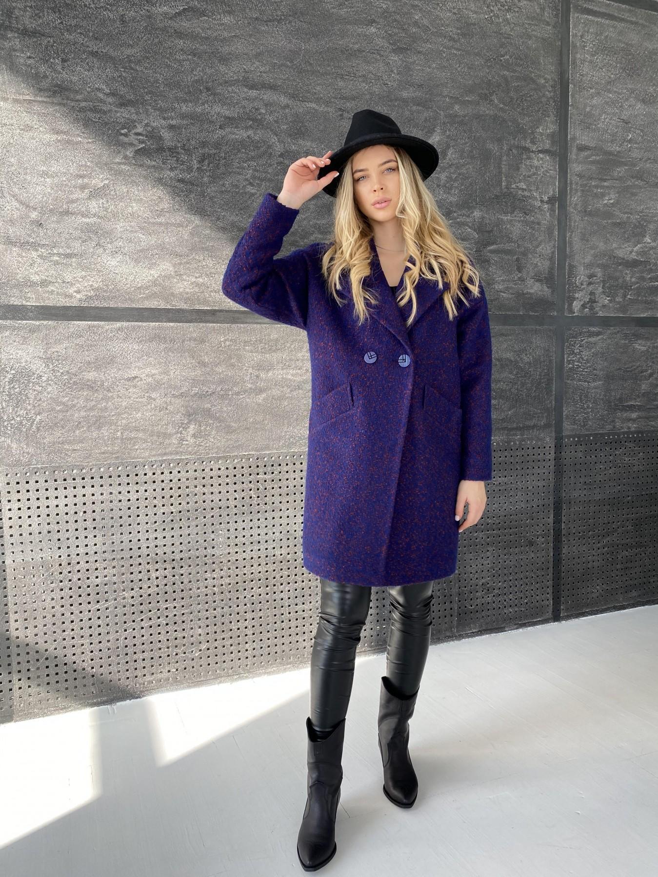 Сенсей пальто из шерсти букле 10780 АРТ. 47237 Цвет: Т.синий марсала 43 - фото 2, интернет магазин tm-modus.ru