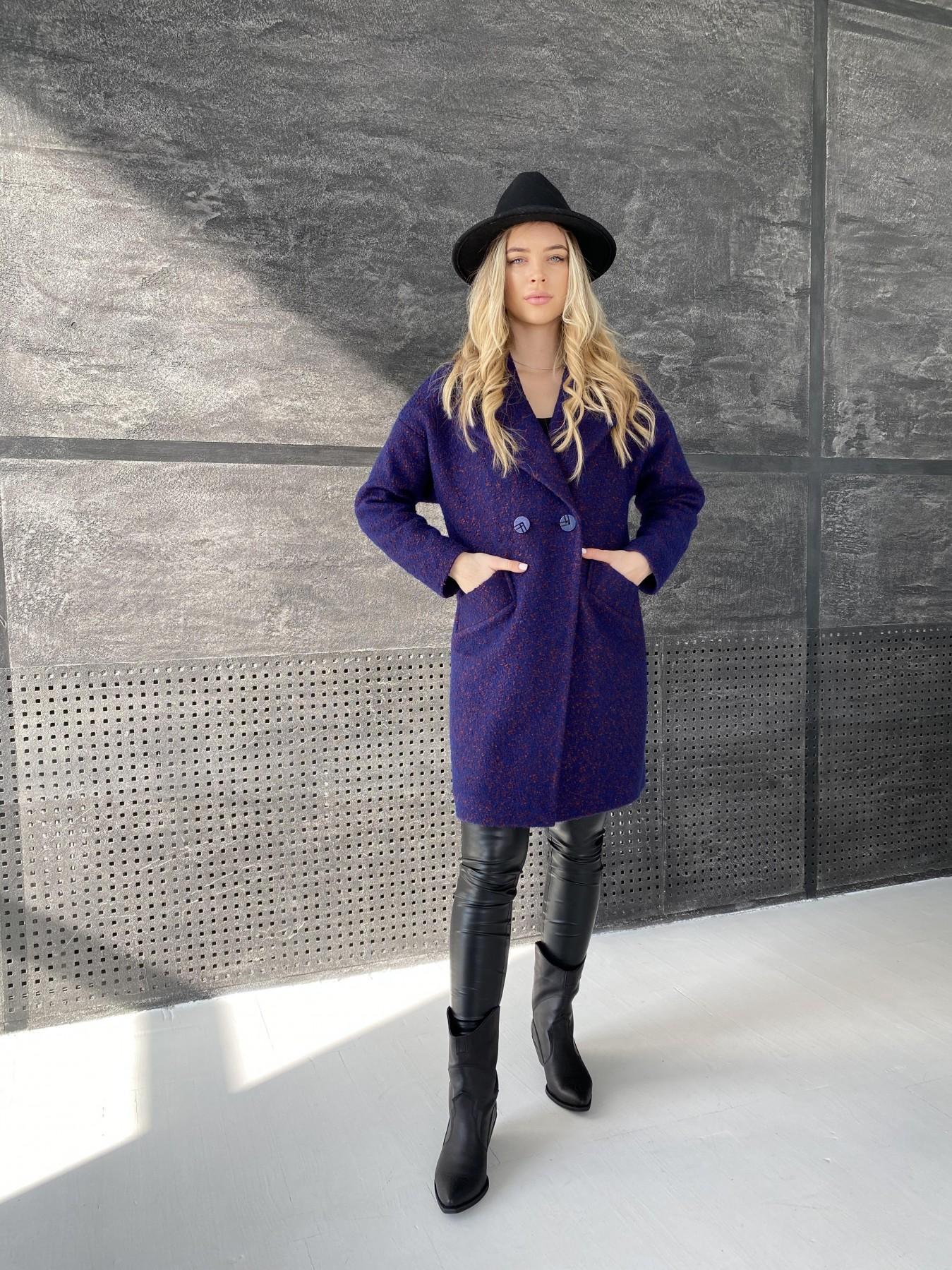 Сенсей пальто из шерсти букле 10780 АРТ. 47237 Цвет: Т.синий марсала 43 - фото 3, интернет магазин tm-modus.ru